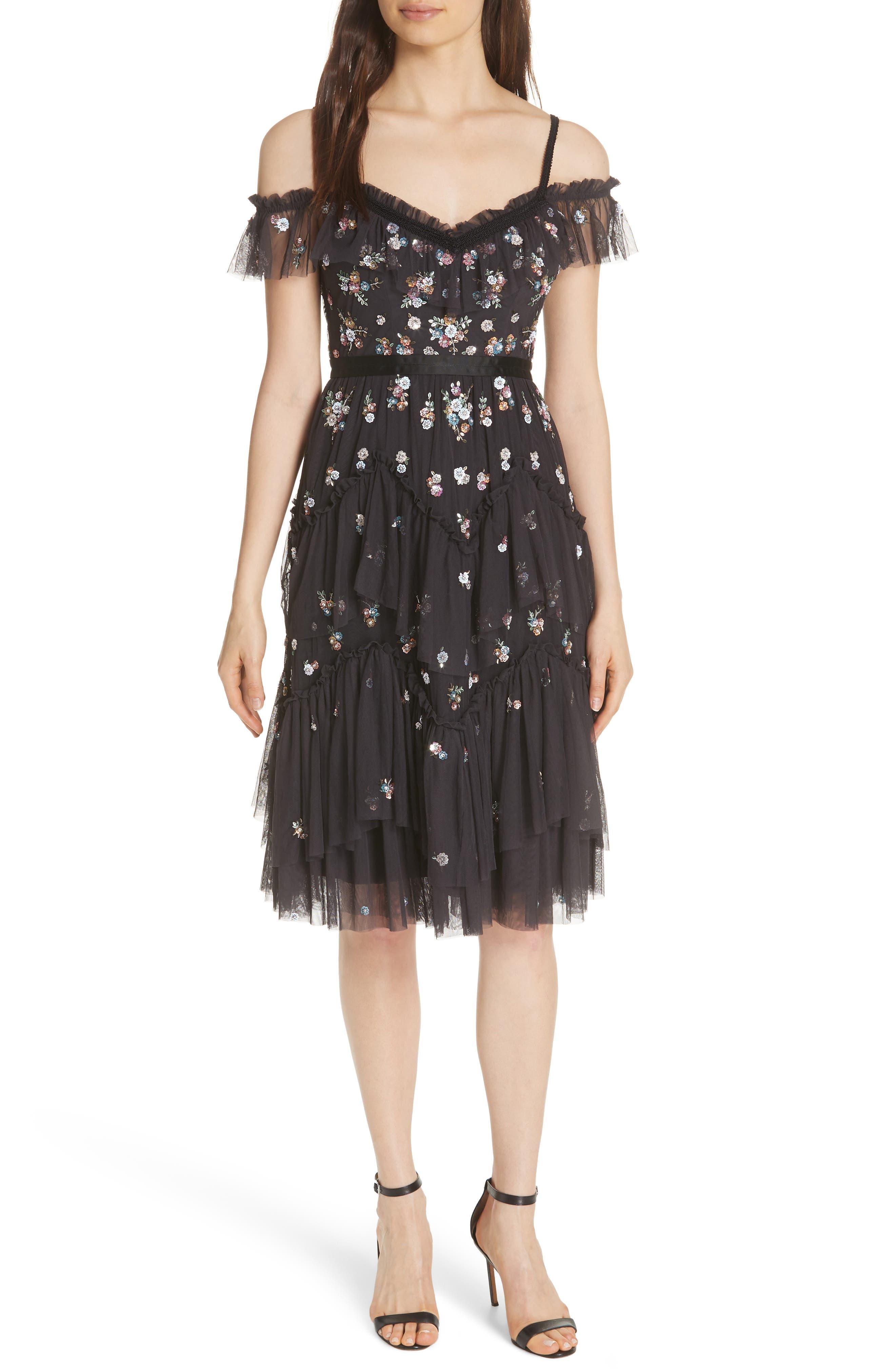 Lustre Cold Shoulder Dress,                             Main thumbnail 1, color,                             GRAPHITE