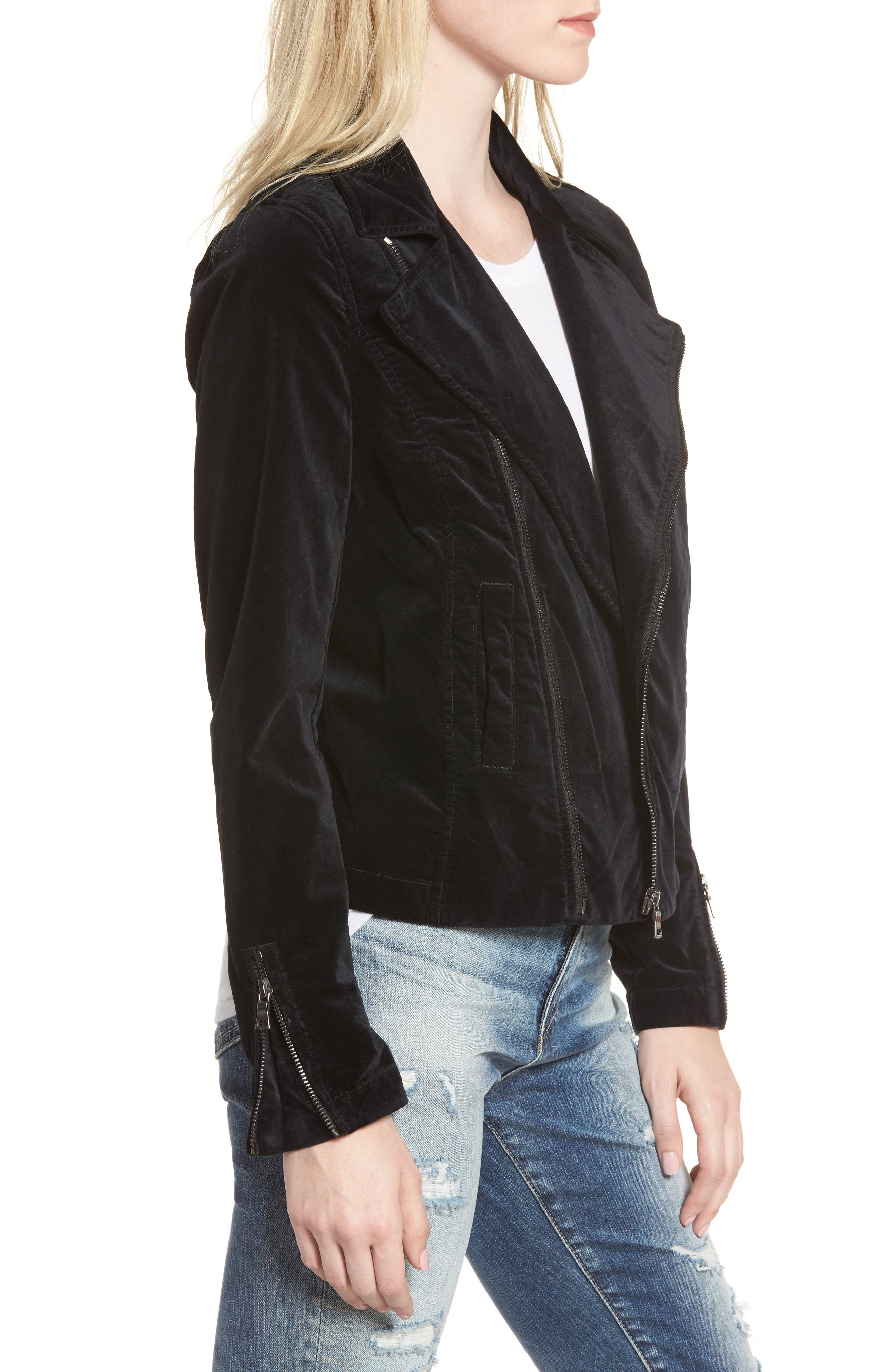 Quincy Velvet Biker Jacket,                             Alternate thumbnail 3, color,                             001