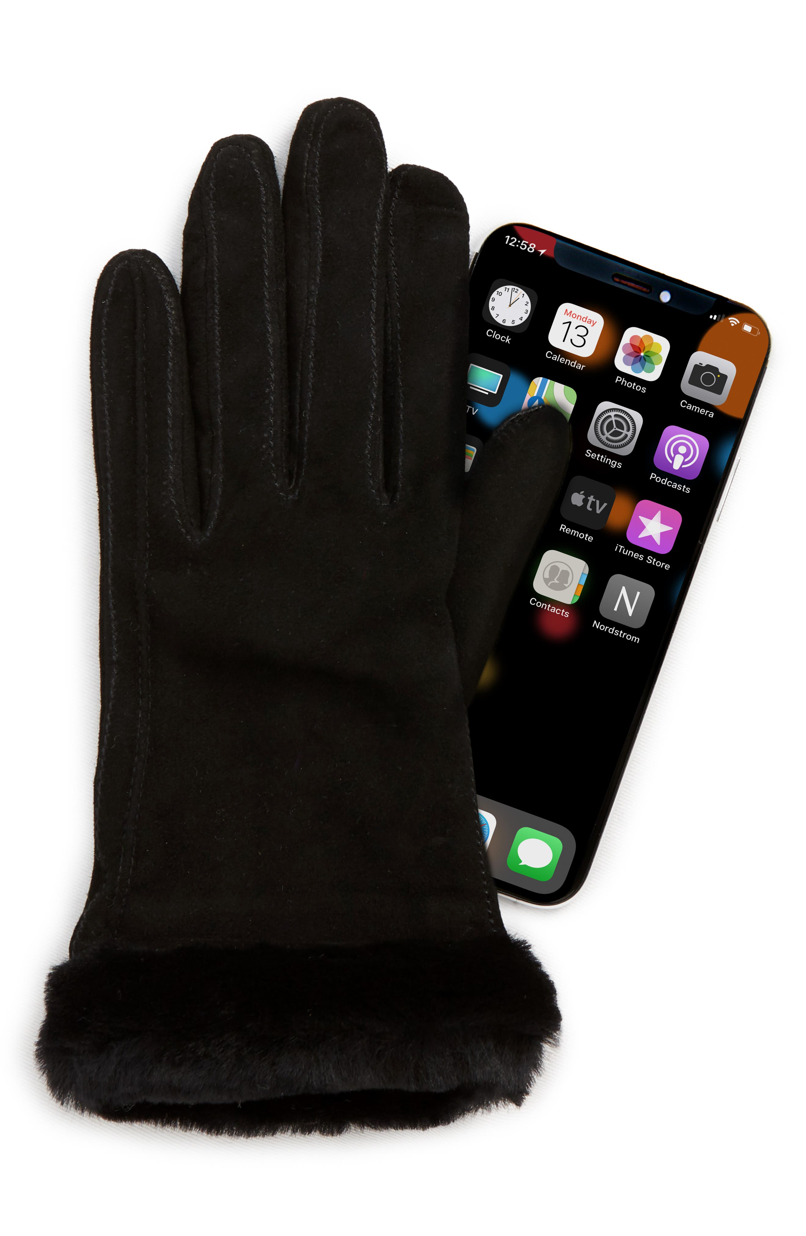 UGG<sup>®</sup> Classic Touchscreen Compatible Gloves with Genuine Shearling Trim,                             Alternate thumbnail 2, color,                             BLACK