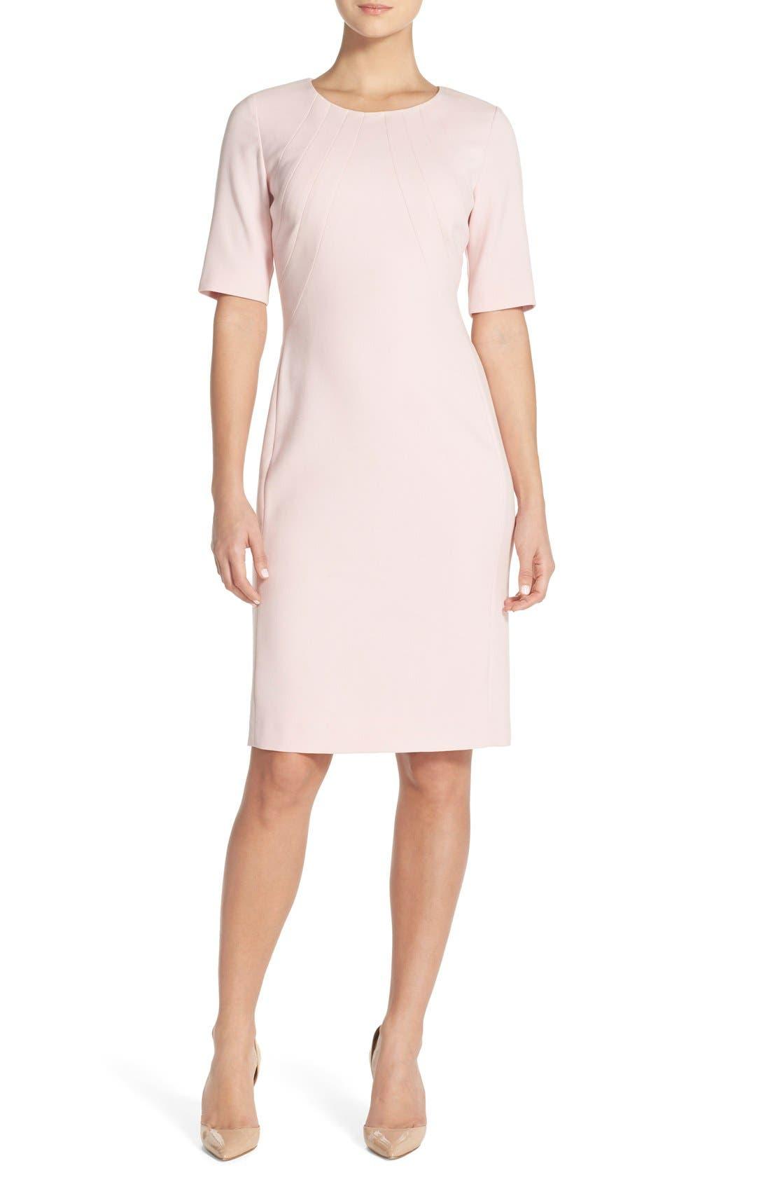 Crepe Sheath Dress,                             Alternate thumbnail 3, color,                             660