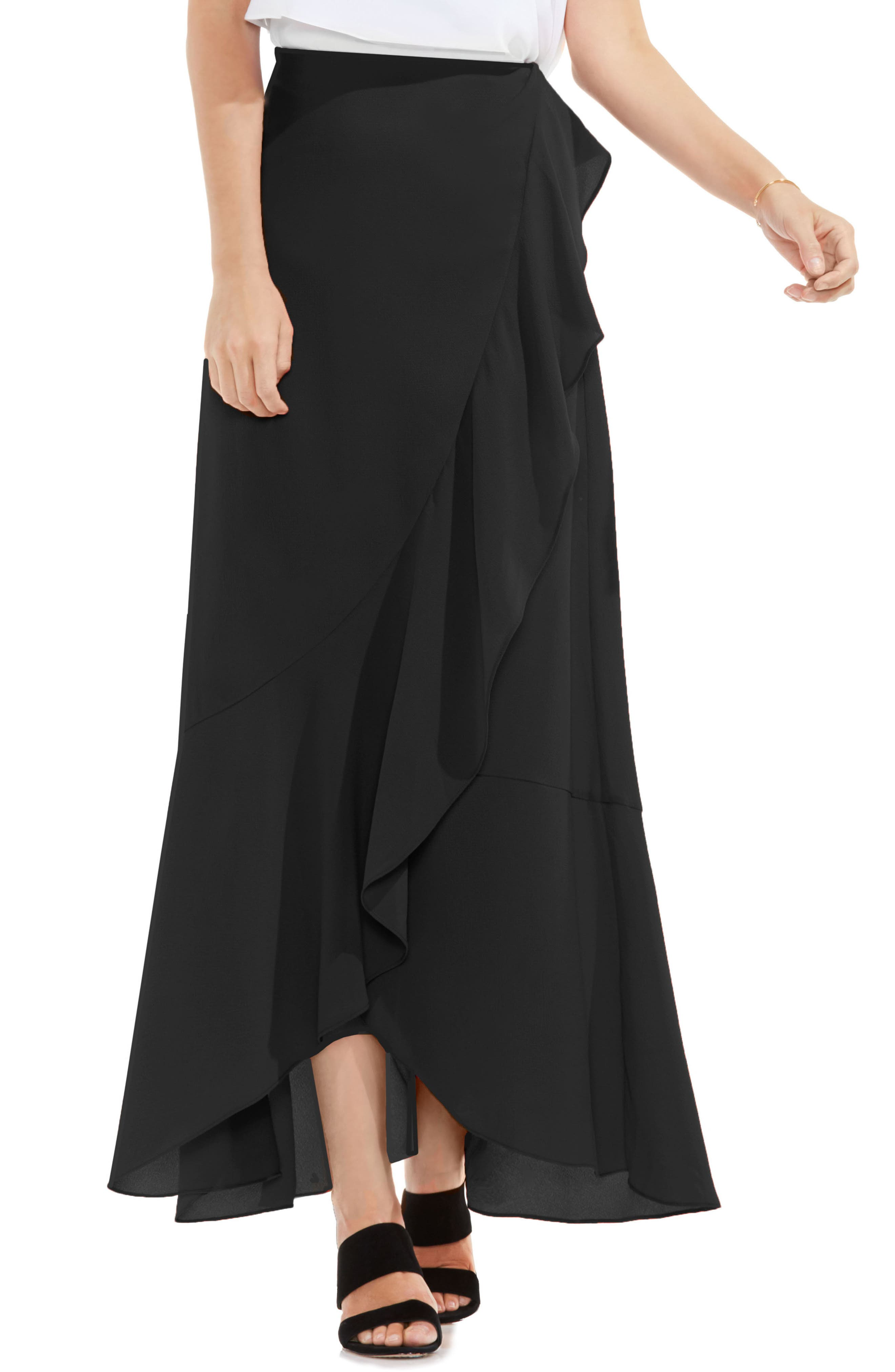 VINCE CAMUTO Faux Wrap Ruffled Maxi Skirt, Main, color, 006