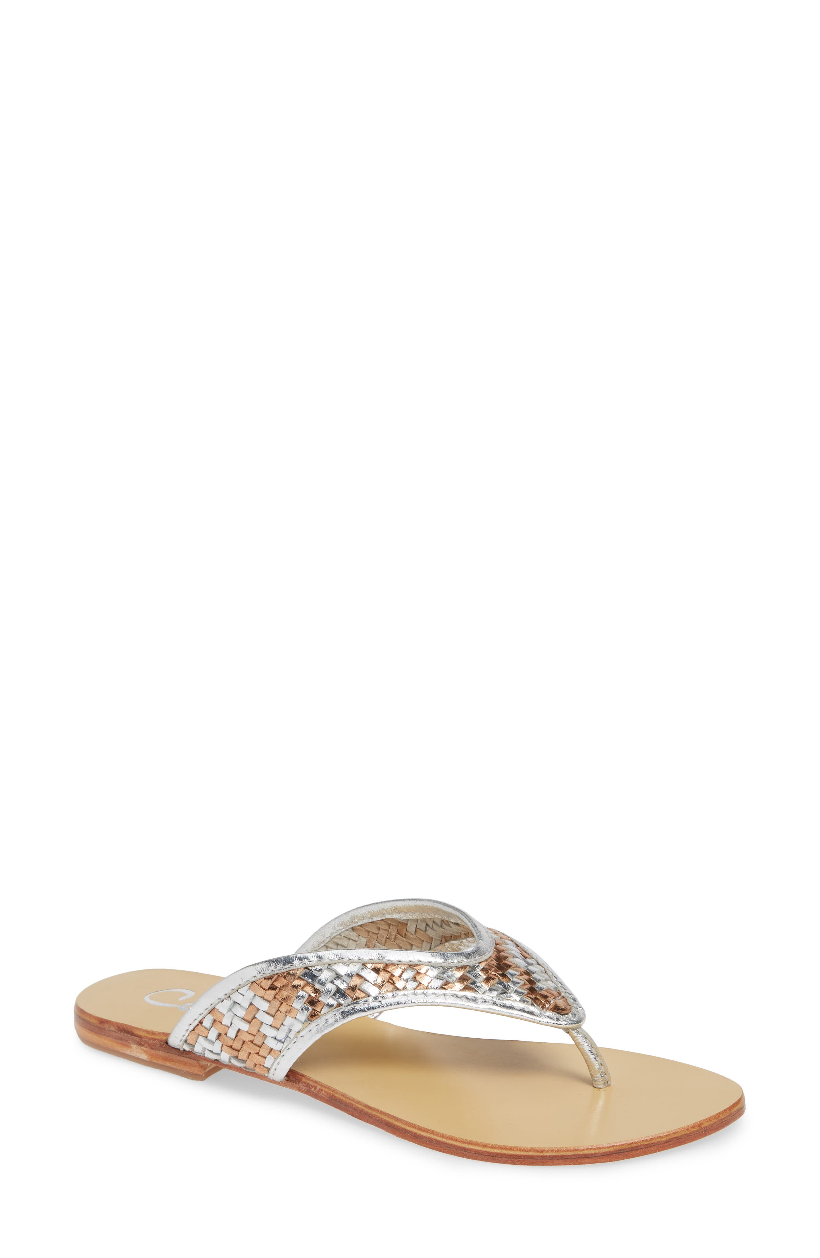 Thunder Woven Flip Flop, Main, color, SILVER GOLD WOVEN LEATHER