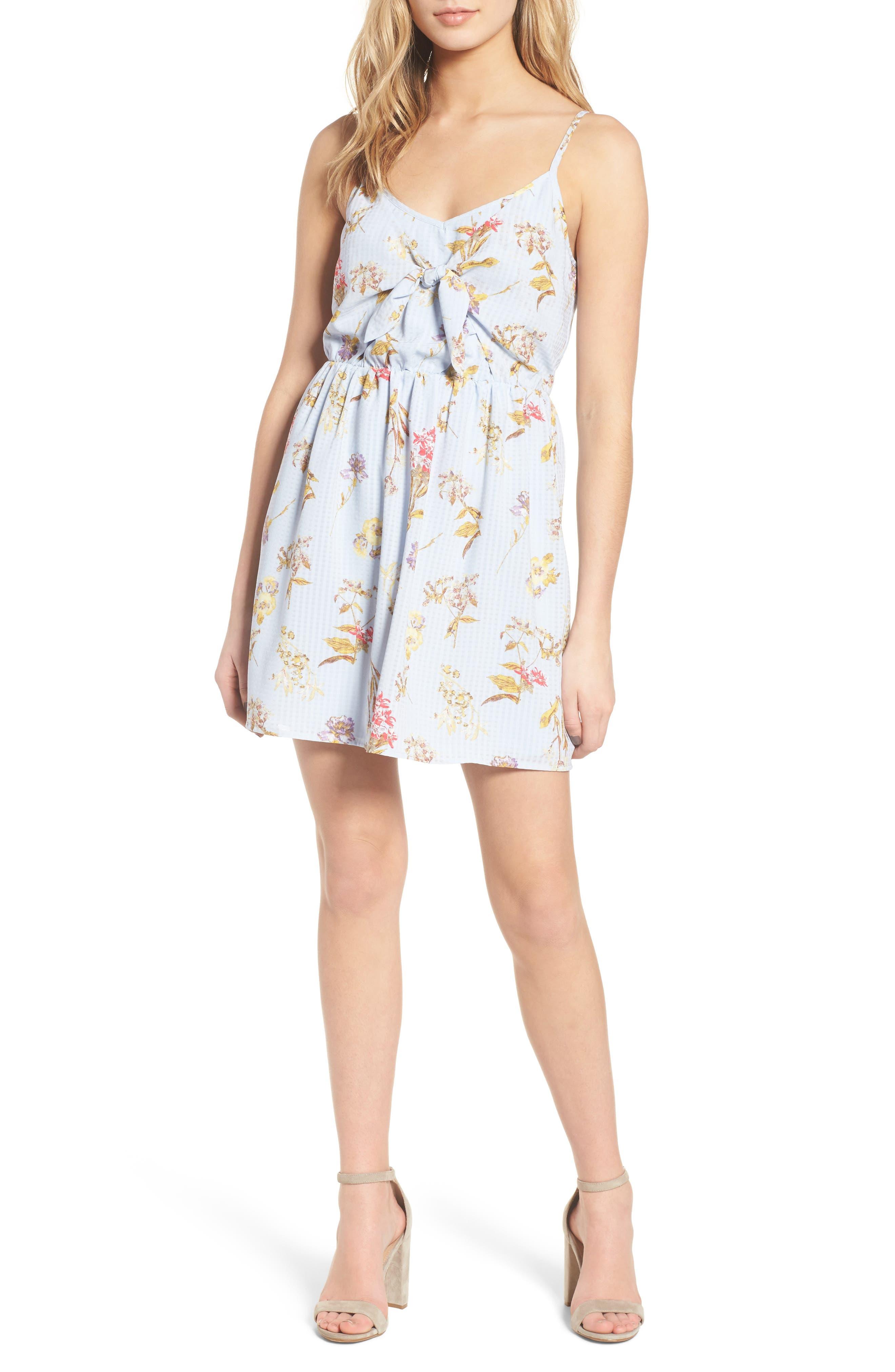 Floral Tie Front Dress,                             Alternate thumbnail 5, color,                             400