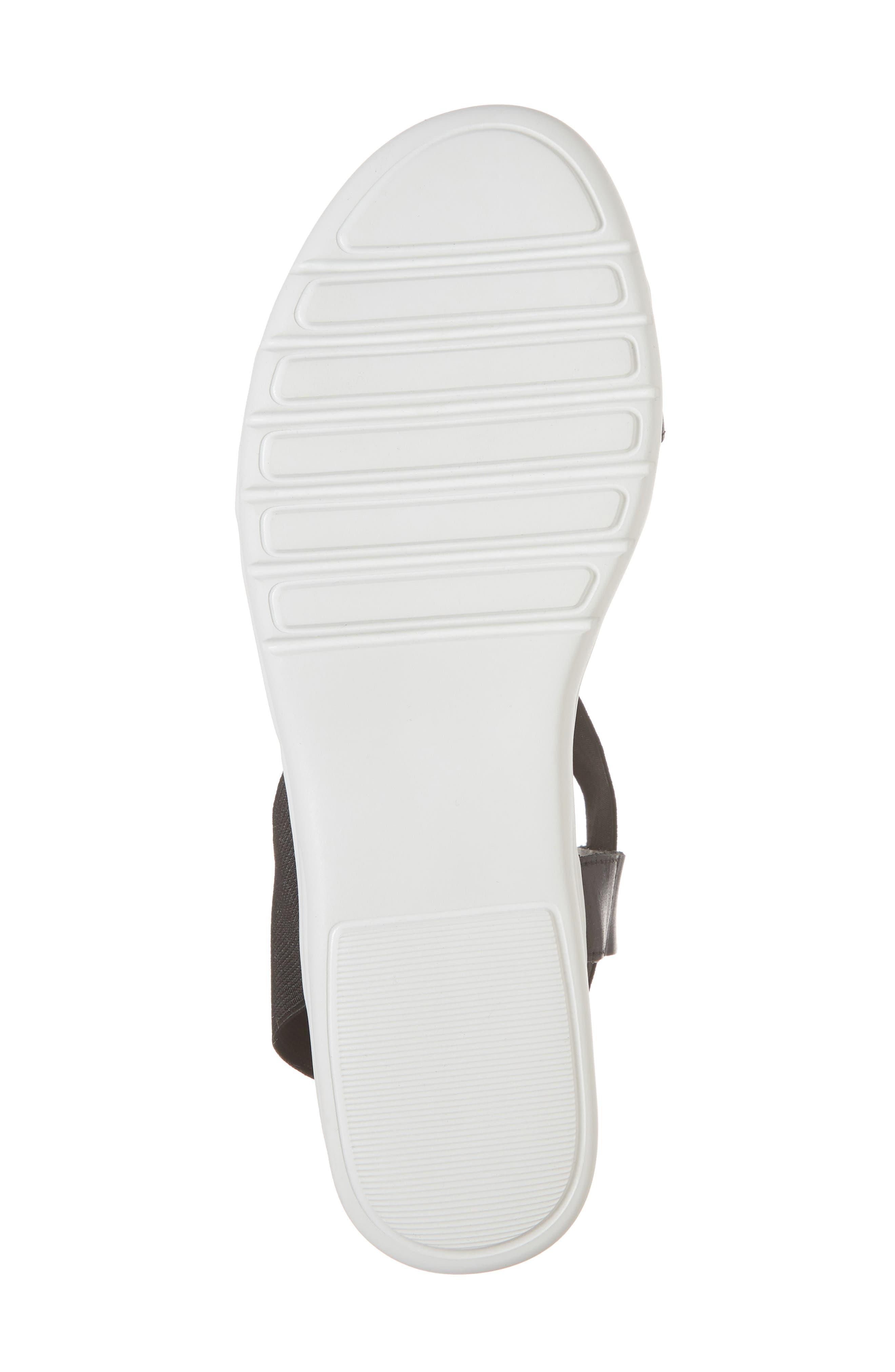 Brinney Wedge Sandal,                             Alternate thumbnail 6, color,                             BLACK LEATHER