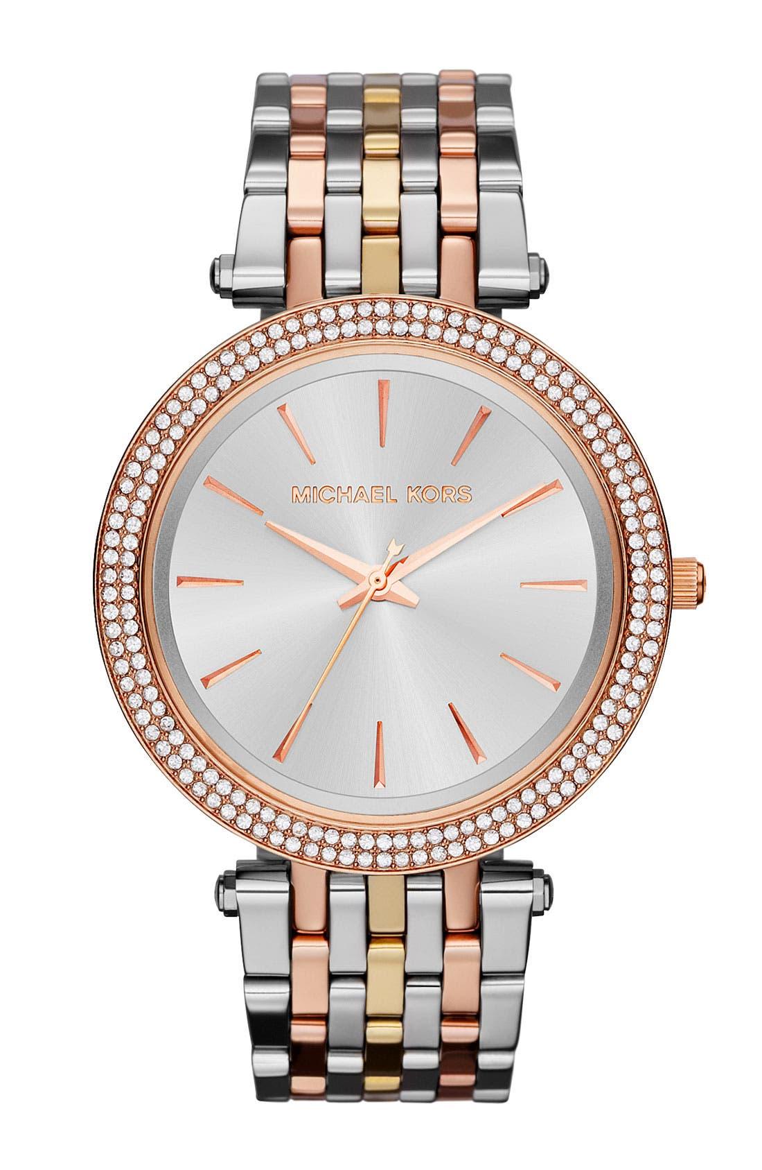 'Darci' Round Bracelet Watch, 39mm,                             Main thumbnail 1, color,                             TRI TONE