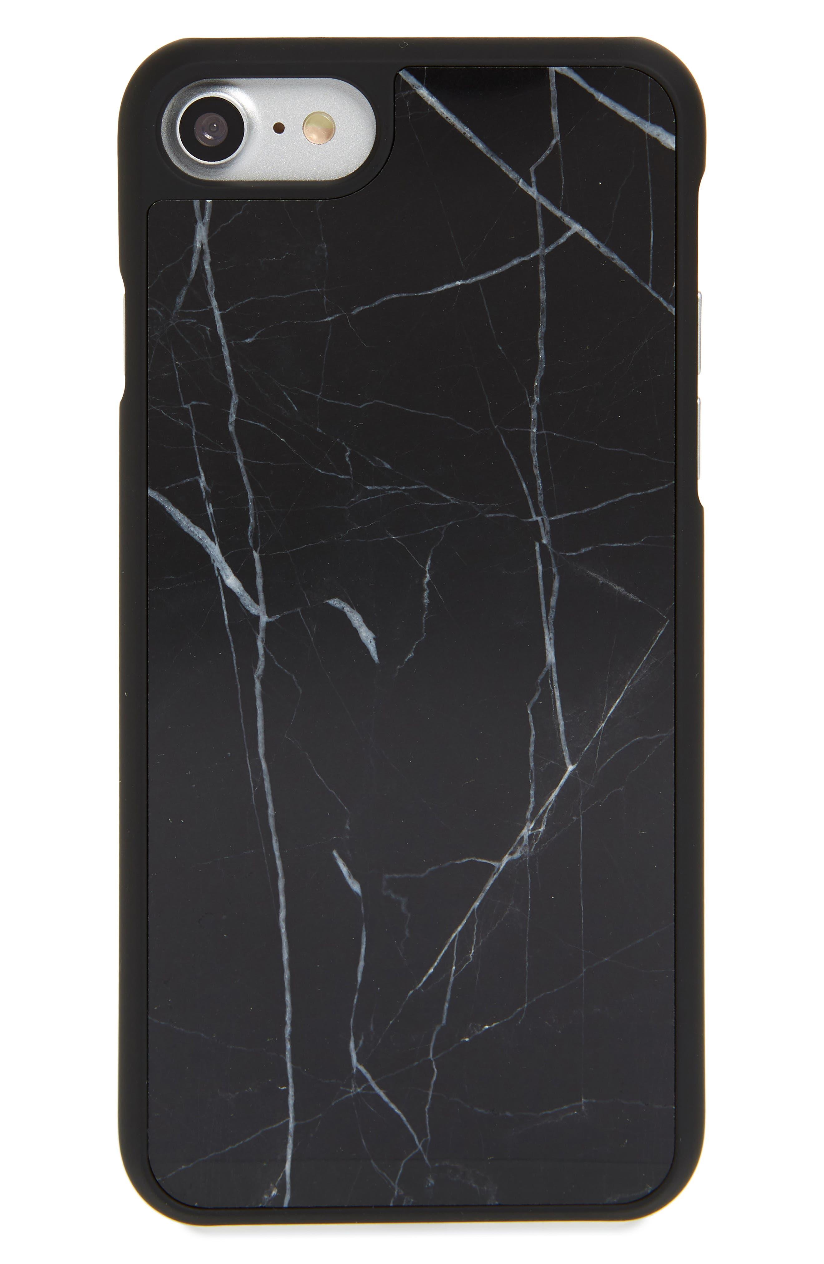 Genuine Marble iPhone 6/6s/7/8 Plus Case,                             Main thumbnail 1, color,                             BLACK