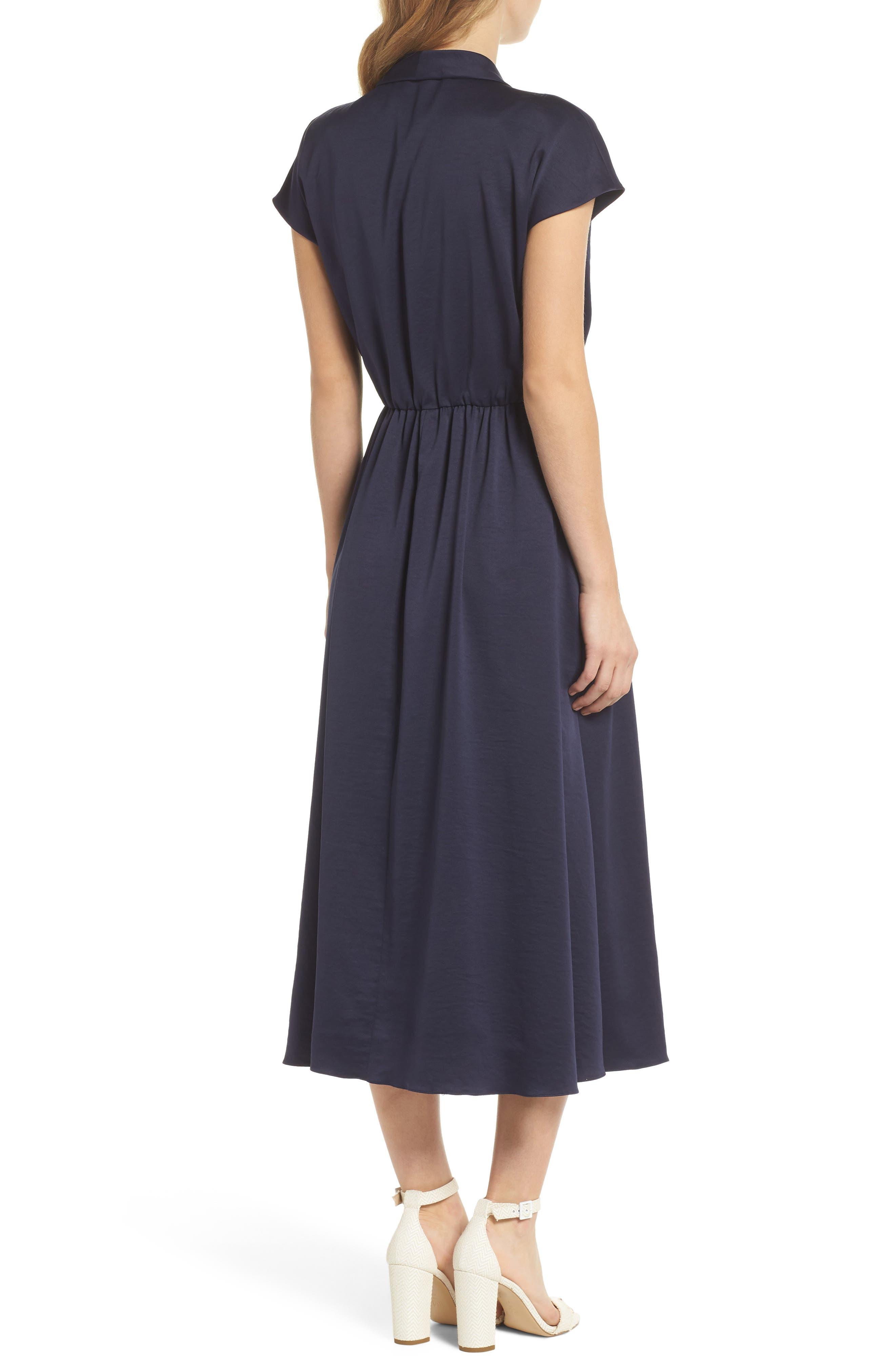 Margie Tie Waist Satin Midi Dress,                             Alternate thumbnail 2, color,                             NAVY