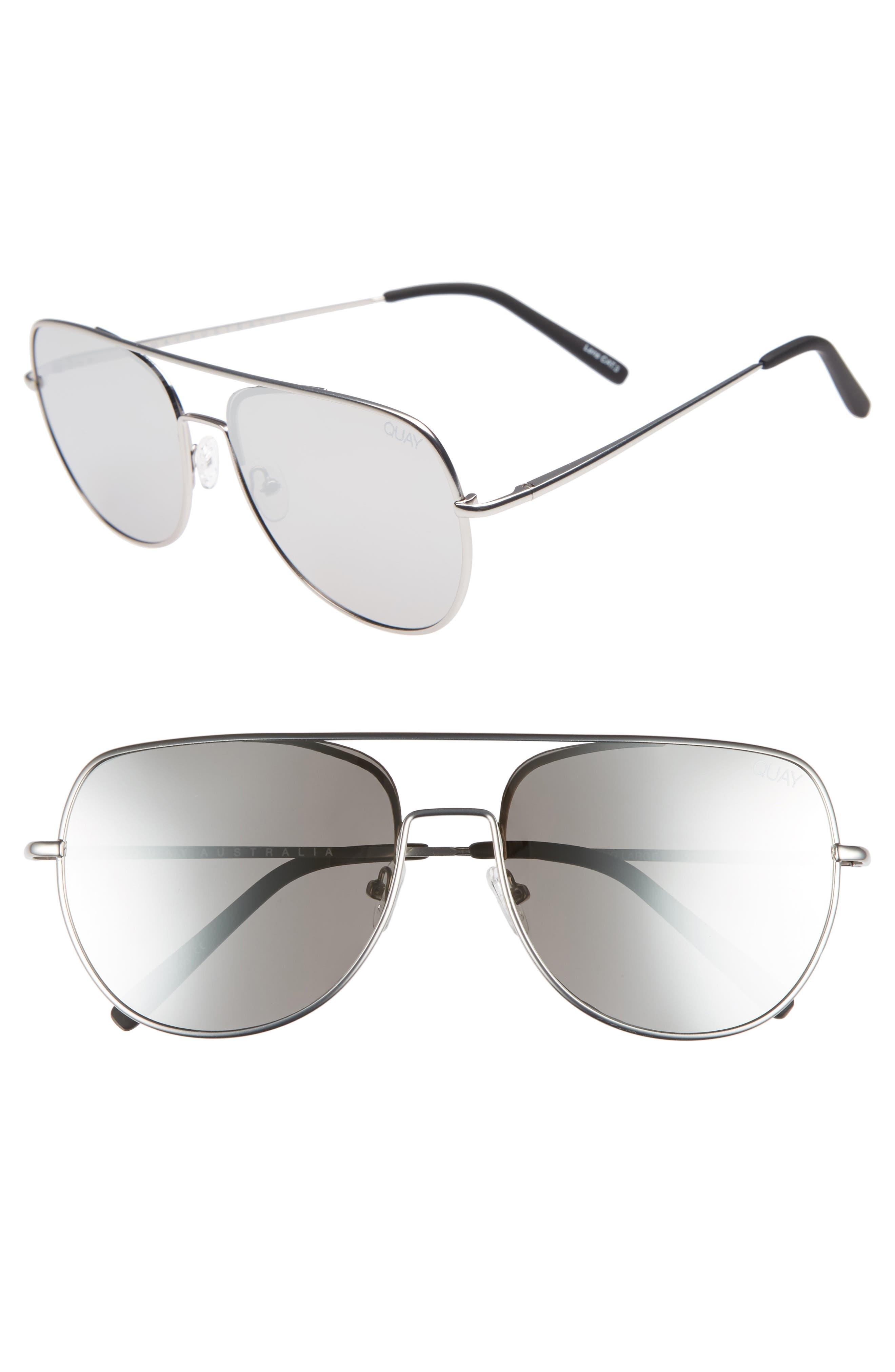 Quay Australia Living Large 5m Aviator Sunglasses - Silver