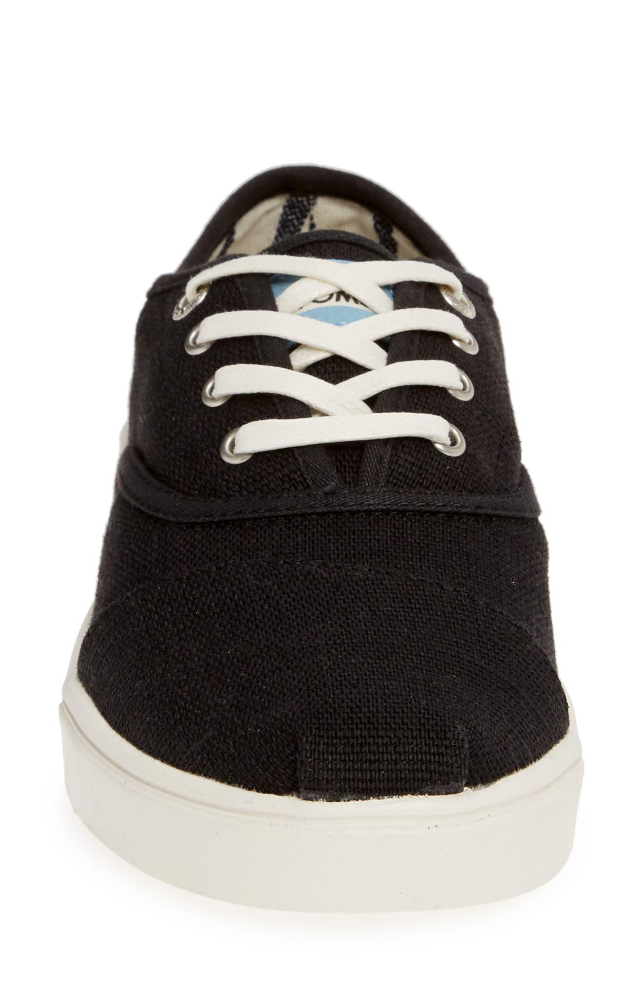 TOMS,                             Cordones Sneaker,                             Alternate thumbnail 4, color,                             BLACK HERITAGE CANVAS