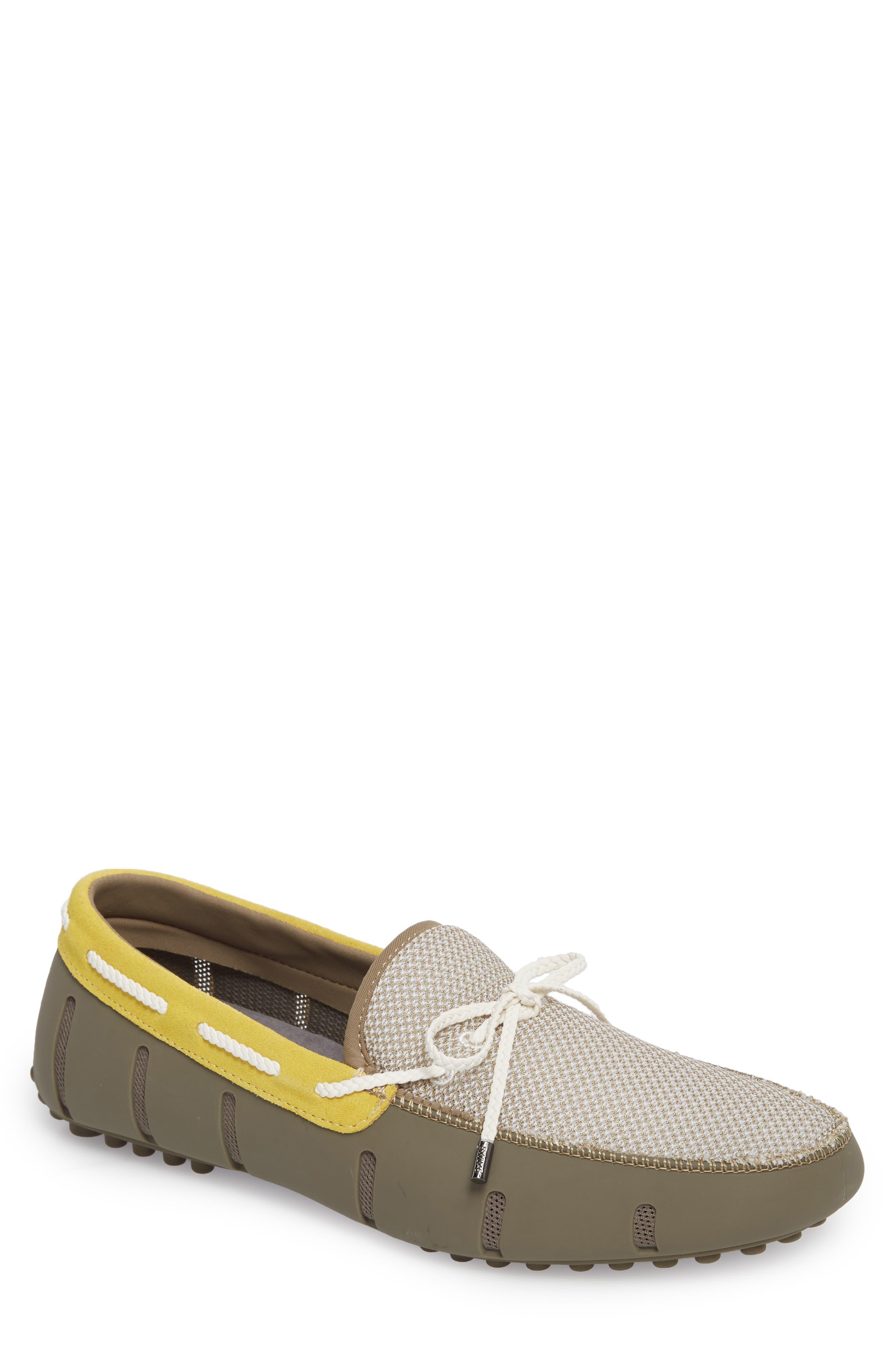 Driving Shoe,                             Main thumbnail 1, color,                             KHAKI/ FADED LEMON/ WHITE