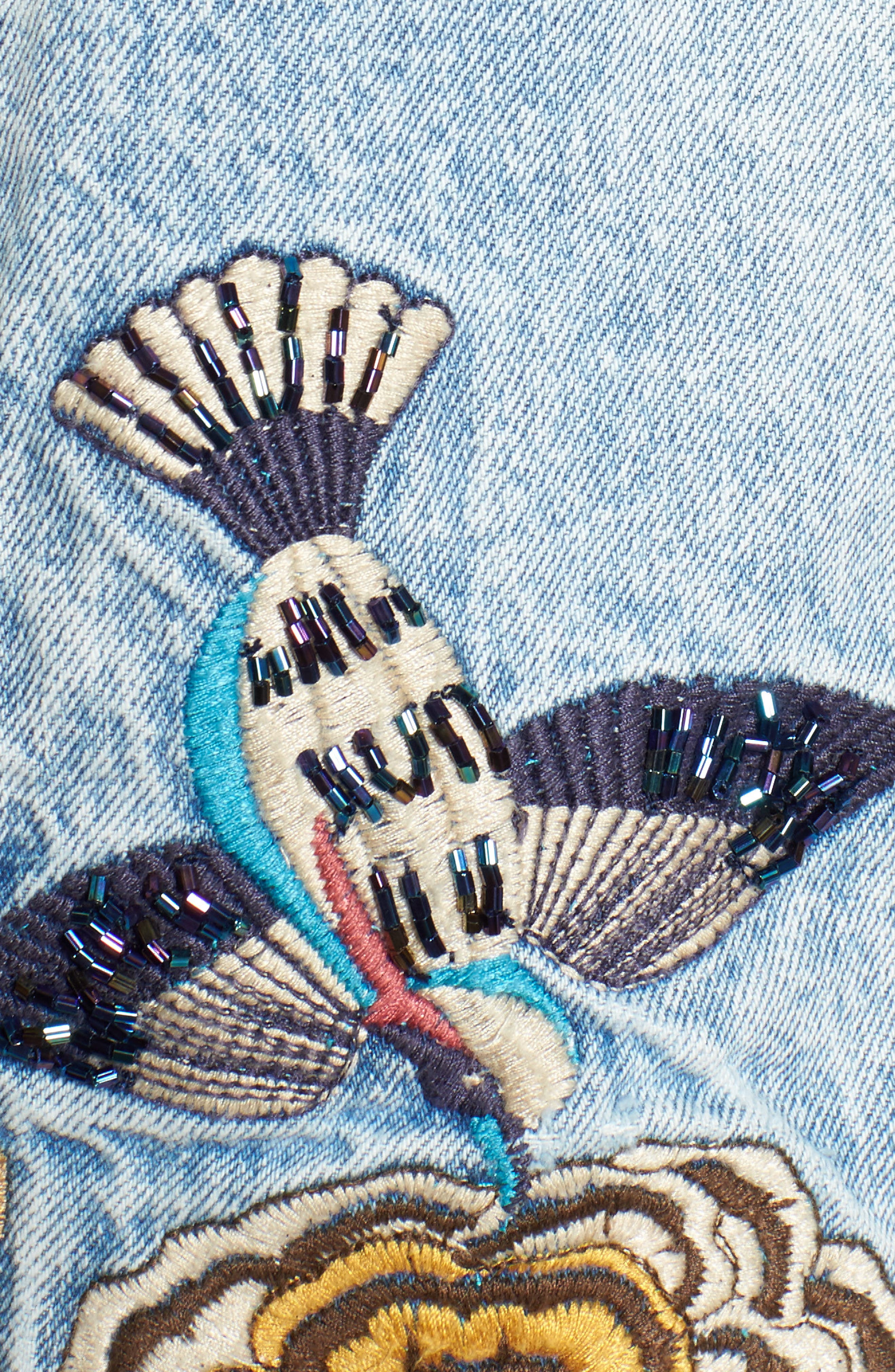 Embroidered Denim Jacket,                             Alternate thumbnail 5, color,                             400