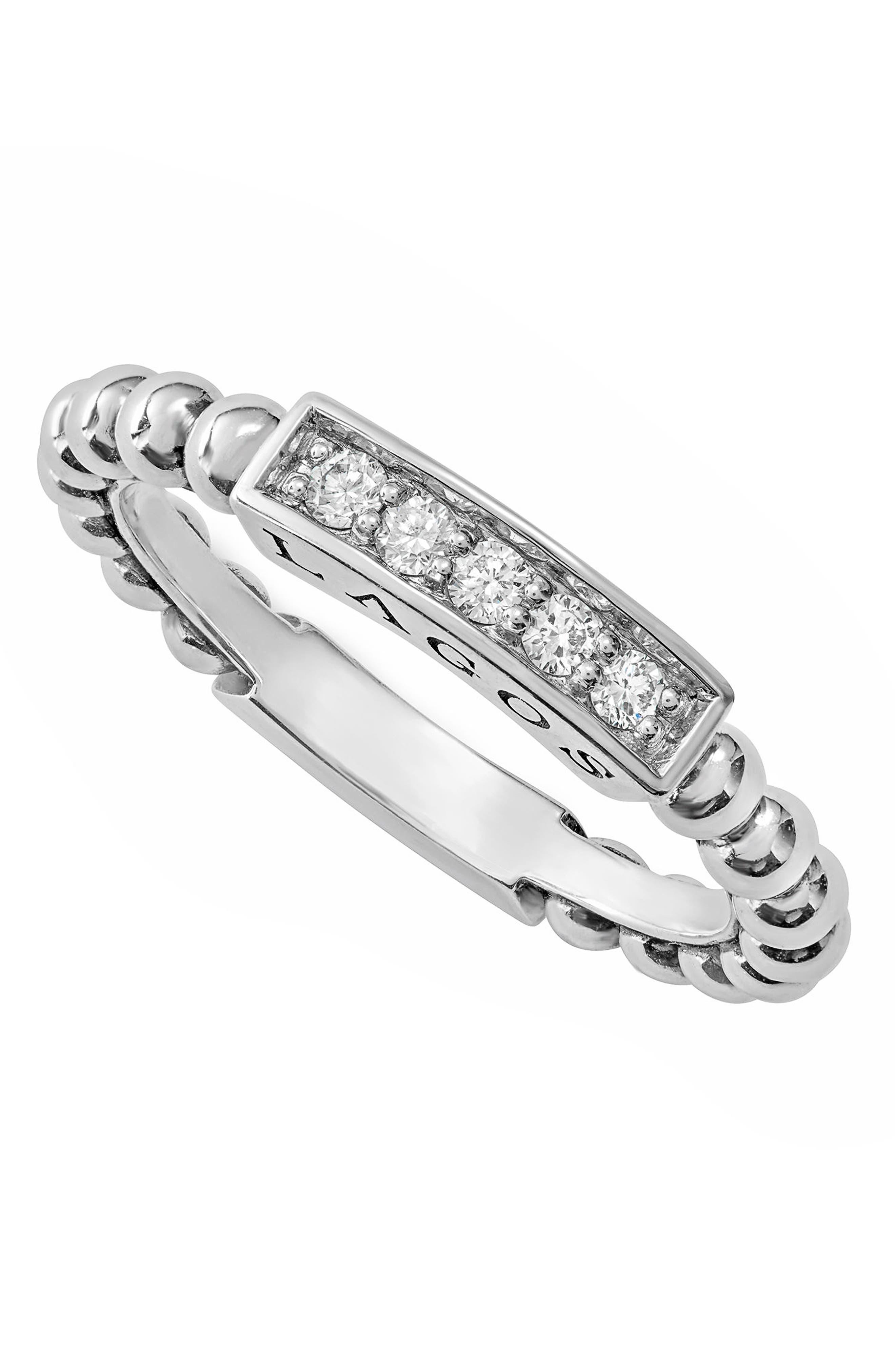 LAGOS,                             Caviar Icon Spark Diamond Stacking Ring,                             Alternate thumbnail 6, color,                             SILVER/ DIAMOND