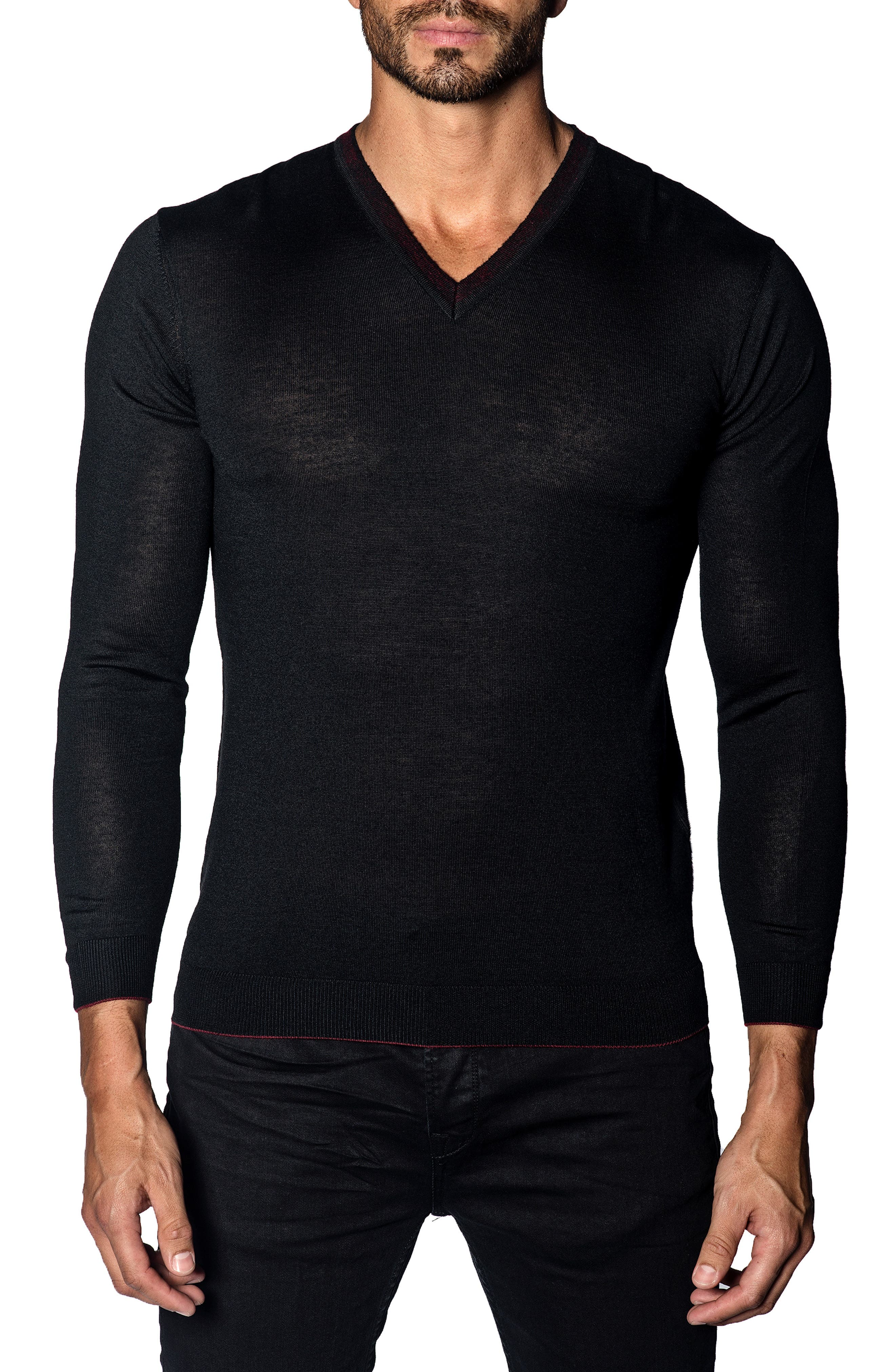 JARED LANG Trim Fit V-Neck Sweater in Black