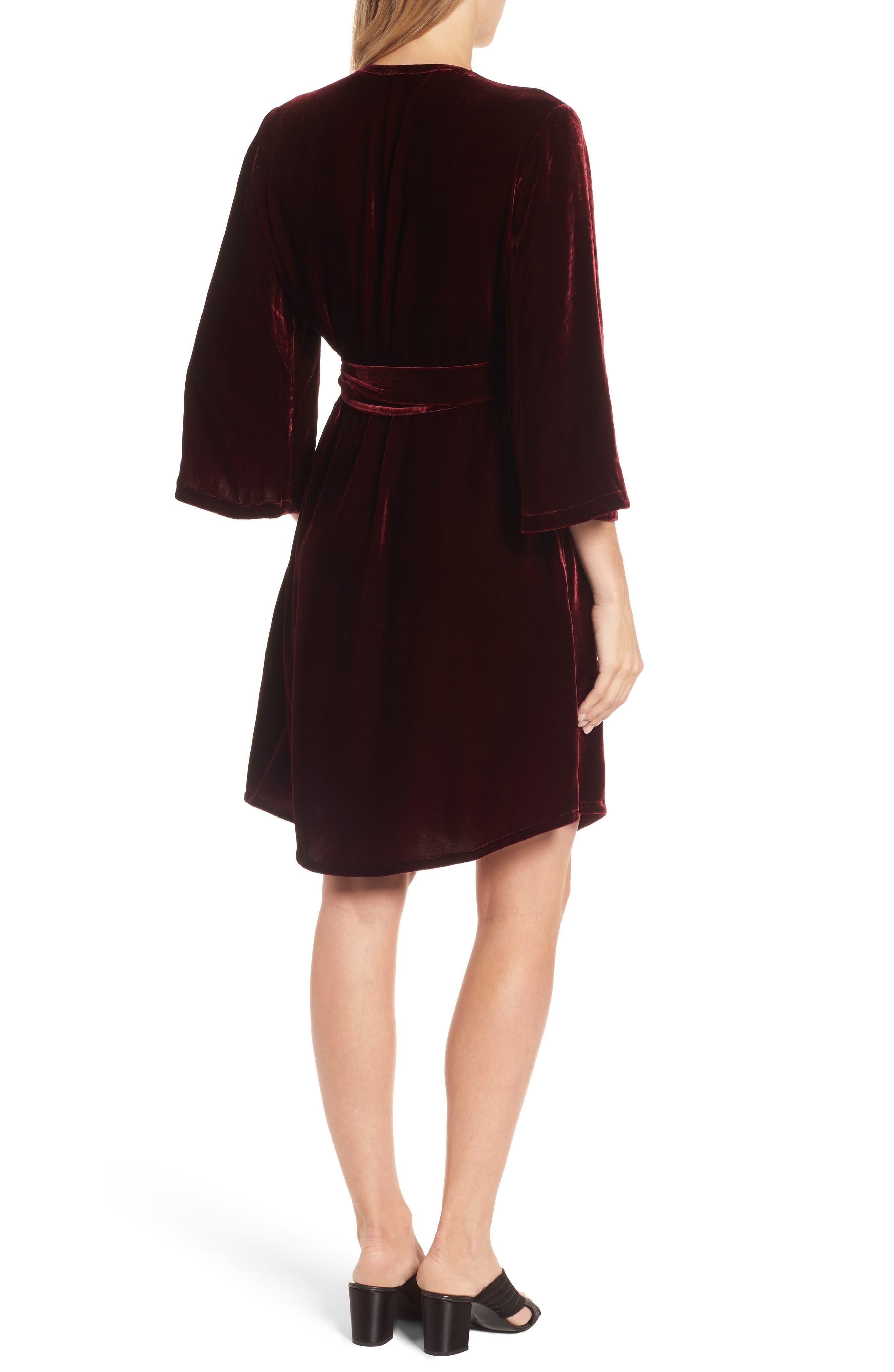Velvet Wrap Dress,                             Alternate thumbnail 6, color,