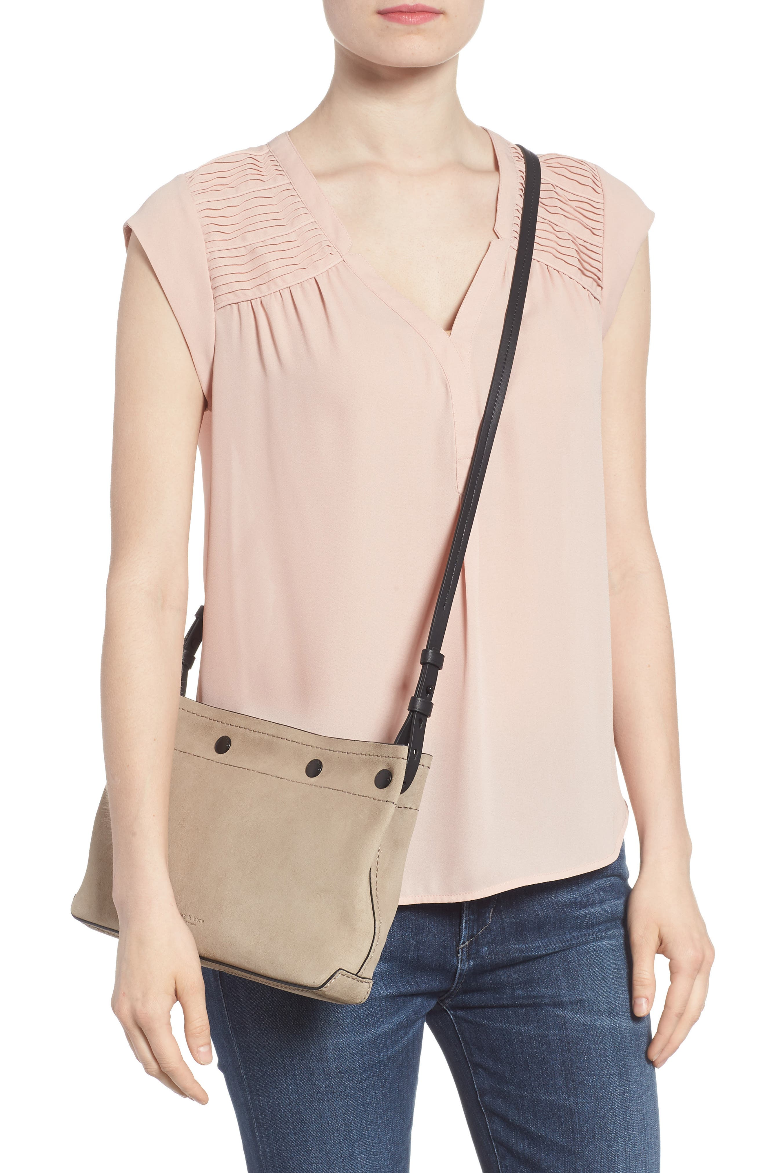 Compass Leather Crossbody Bag,                             Alternate thumbnail 2, color,                             WARM GREY SUEDE