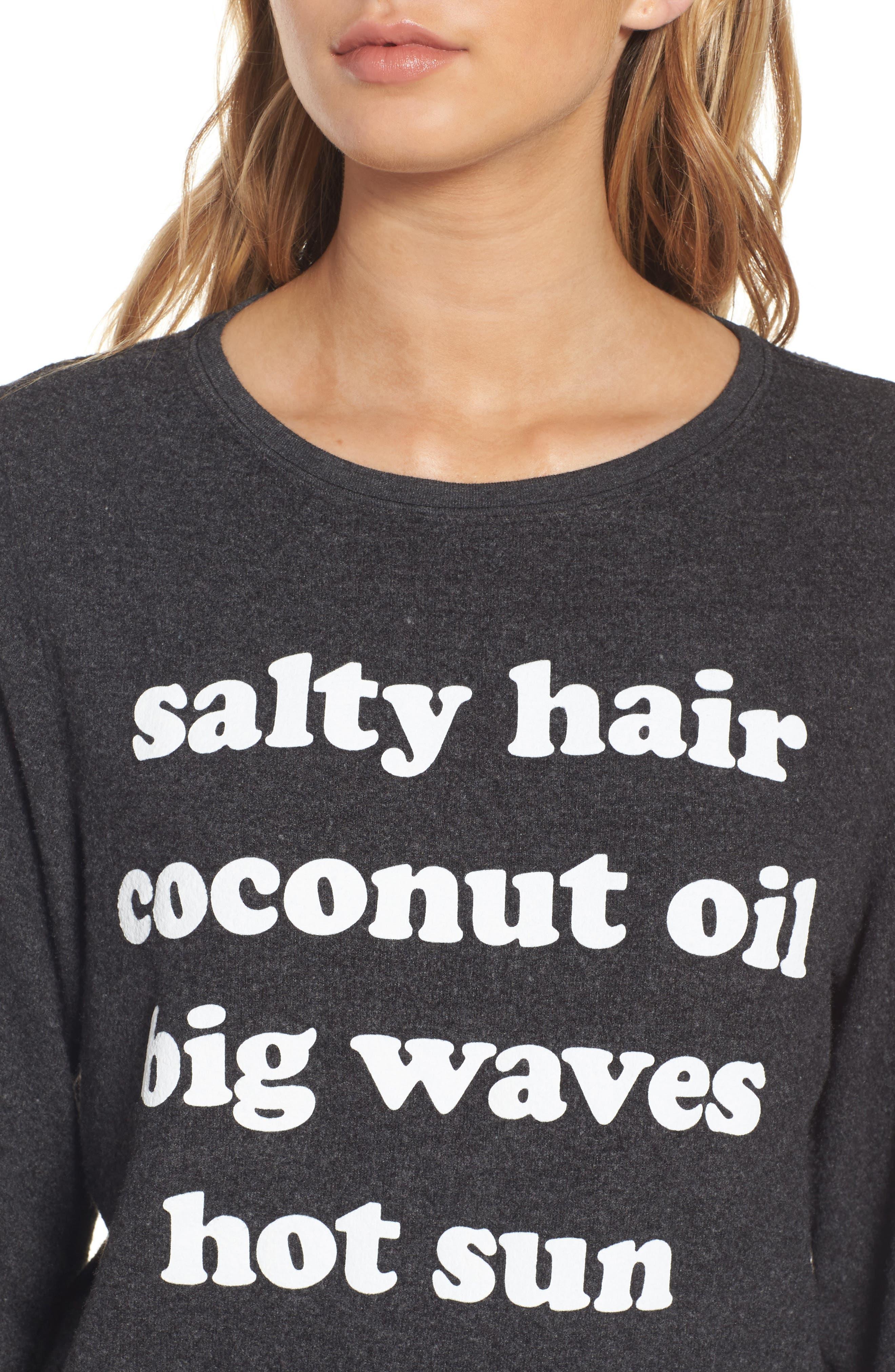 Salty Hair Sweatshirt,                             Alternate thumbnail 4, color,                             001