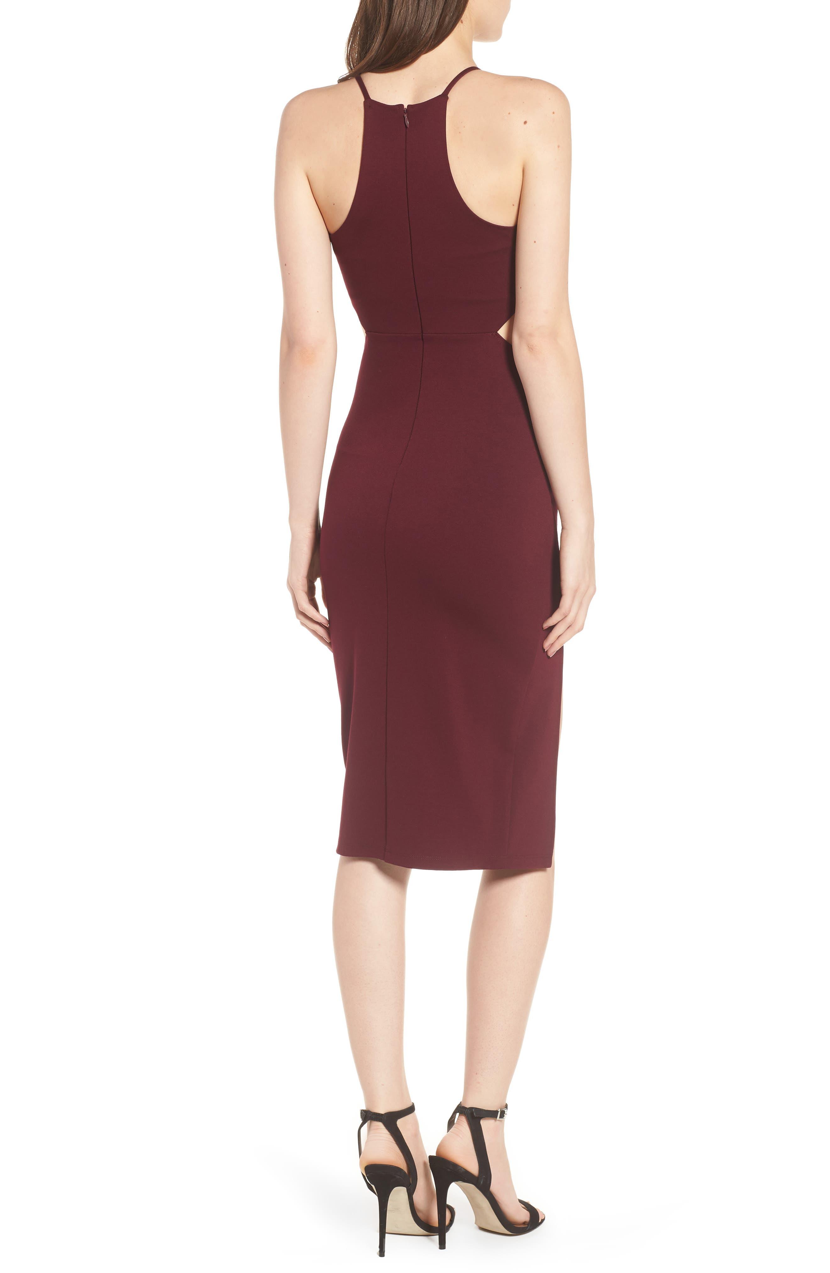 Side Cutout Body Con Dress,                             Alternate thumbnail 8, color,