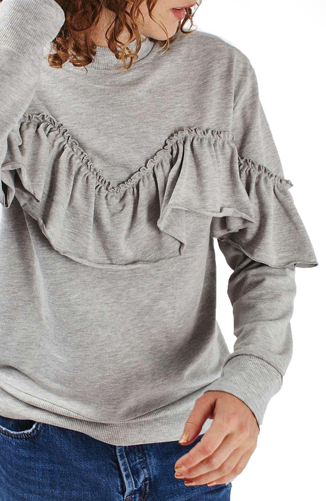 Jersey Ruffle Sweatshirt,                             Alternate thumbnail 6, color,                             020