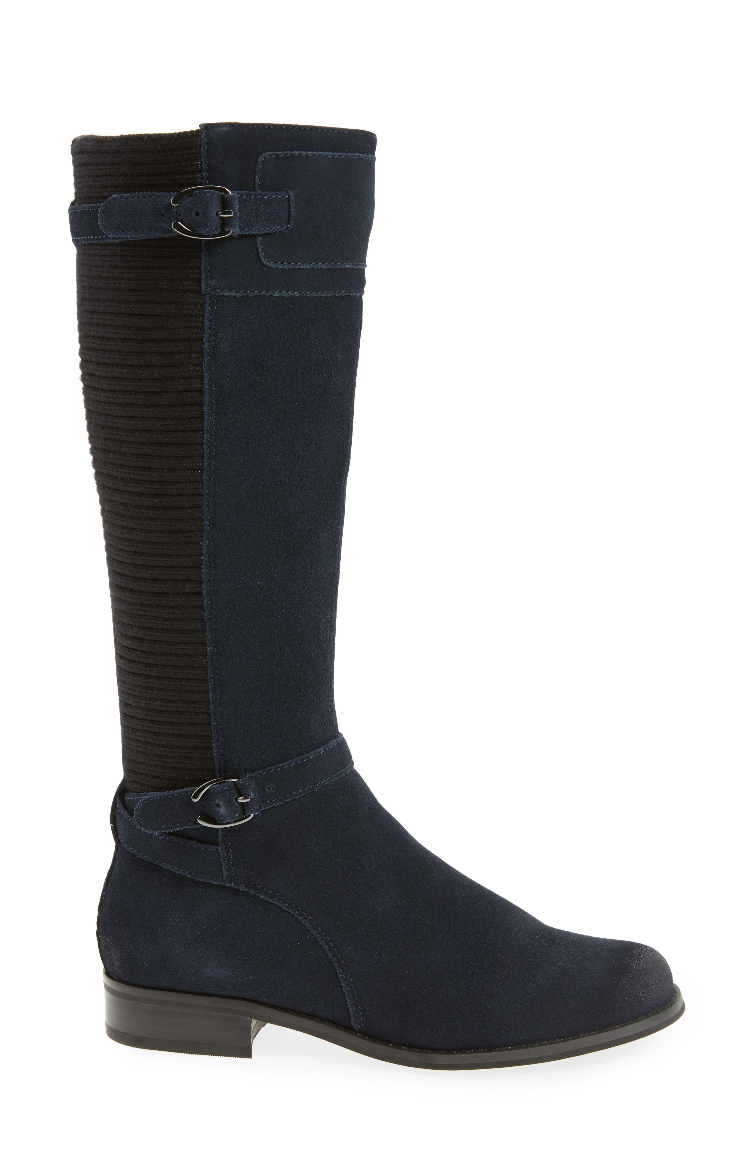 'Chelsea' Riding Boot,                             Alternate thumbnail 3, color,                             NAVY SUEDE