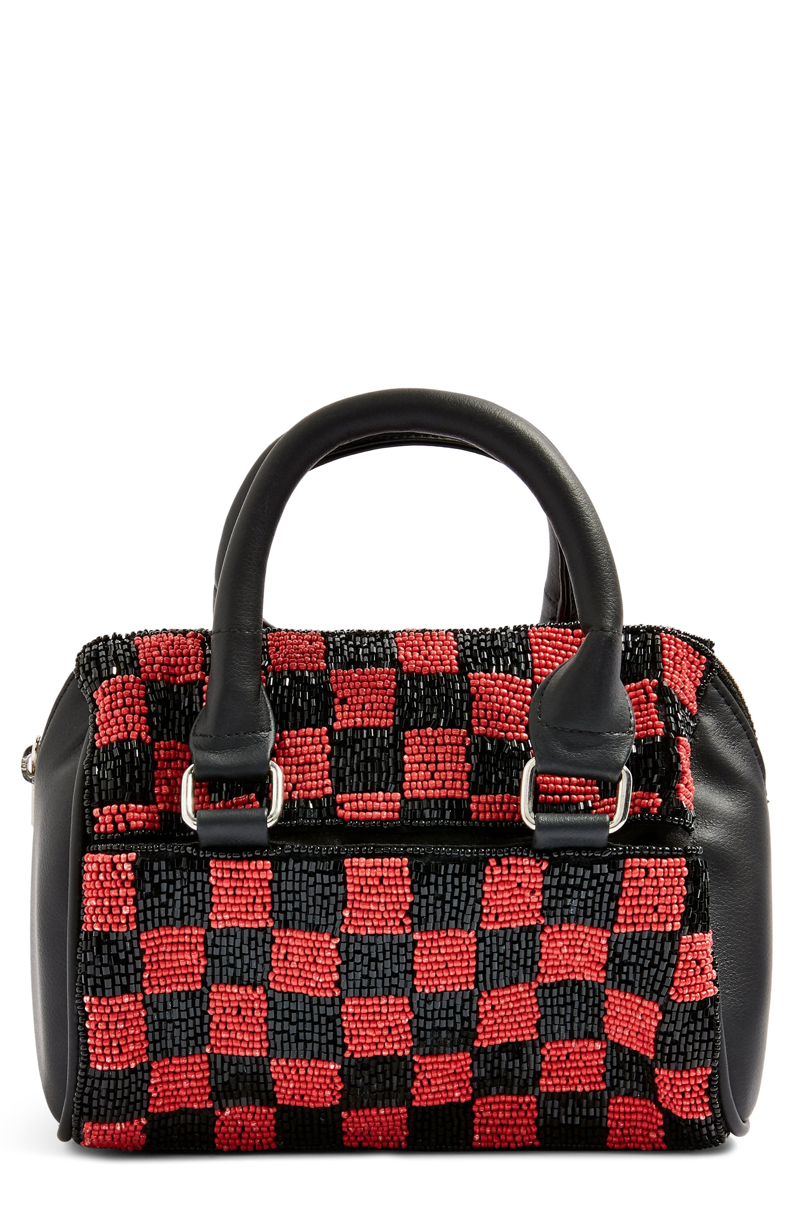 Checkerboard Mini Bowler Bag,                             Main thumbnail 1, color,                             RED MULTI