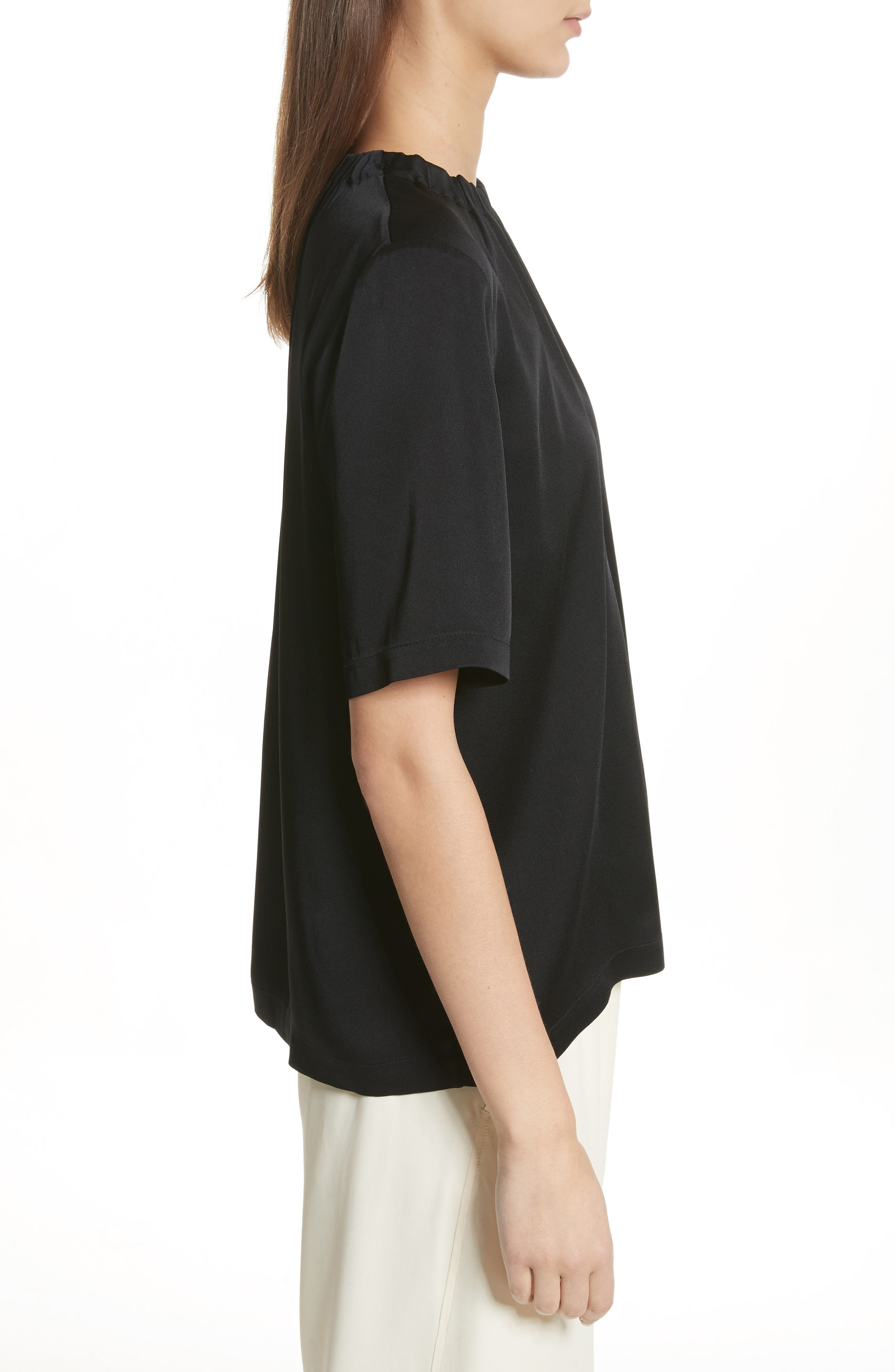 Gathered Neck Short Sleeve Top,                             Alternate thumbnail 3, color,