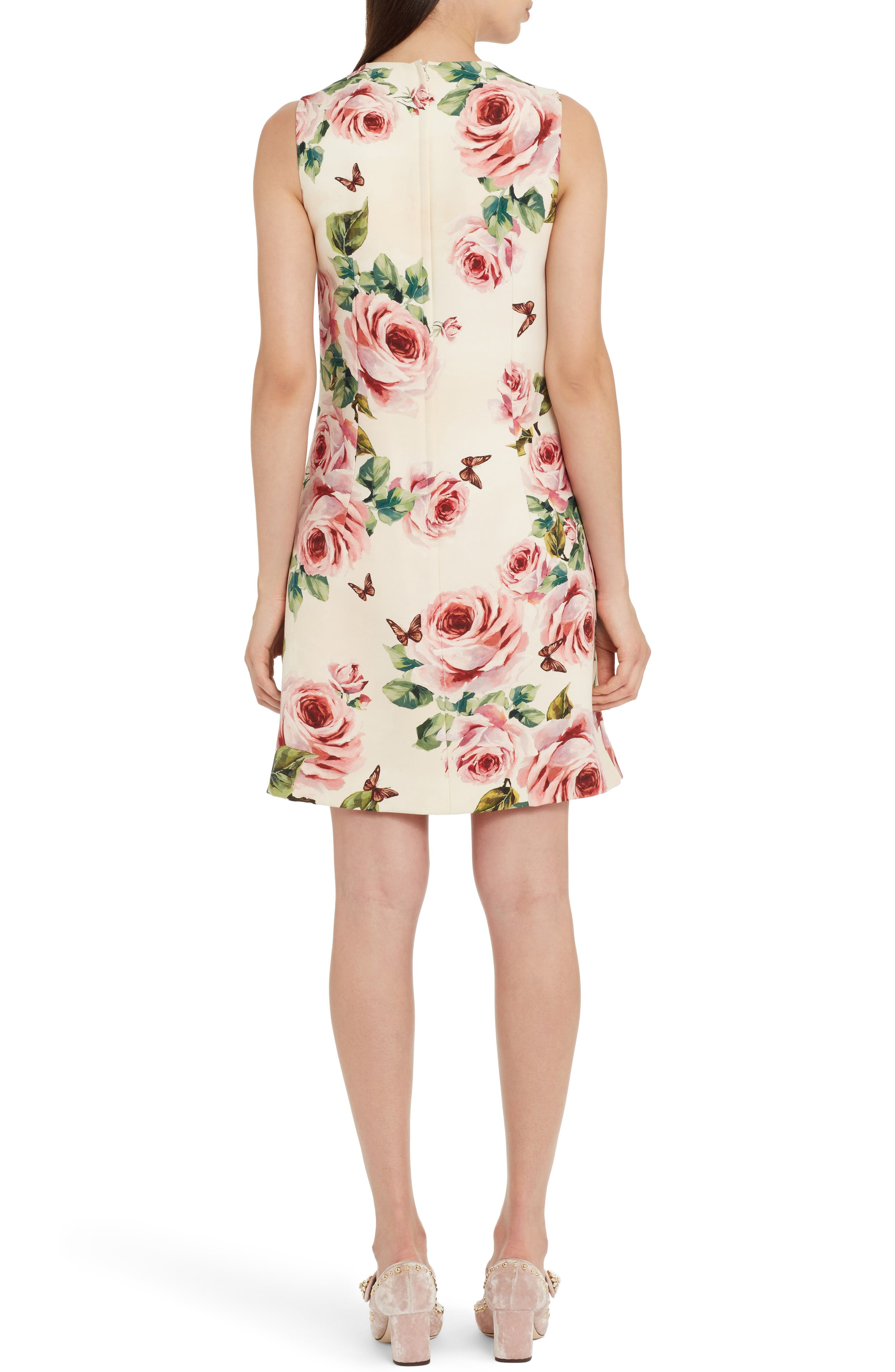 Rose Print Wool & Silk Shift Dress,                             Alternate thumbnail 2, color,