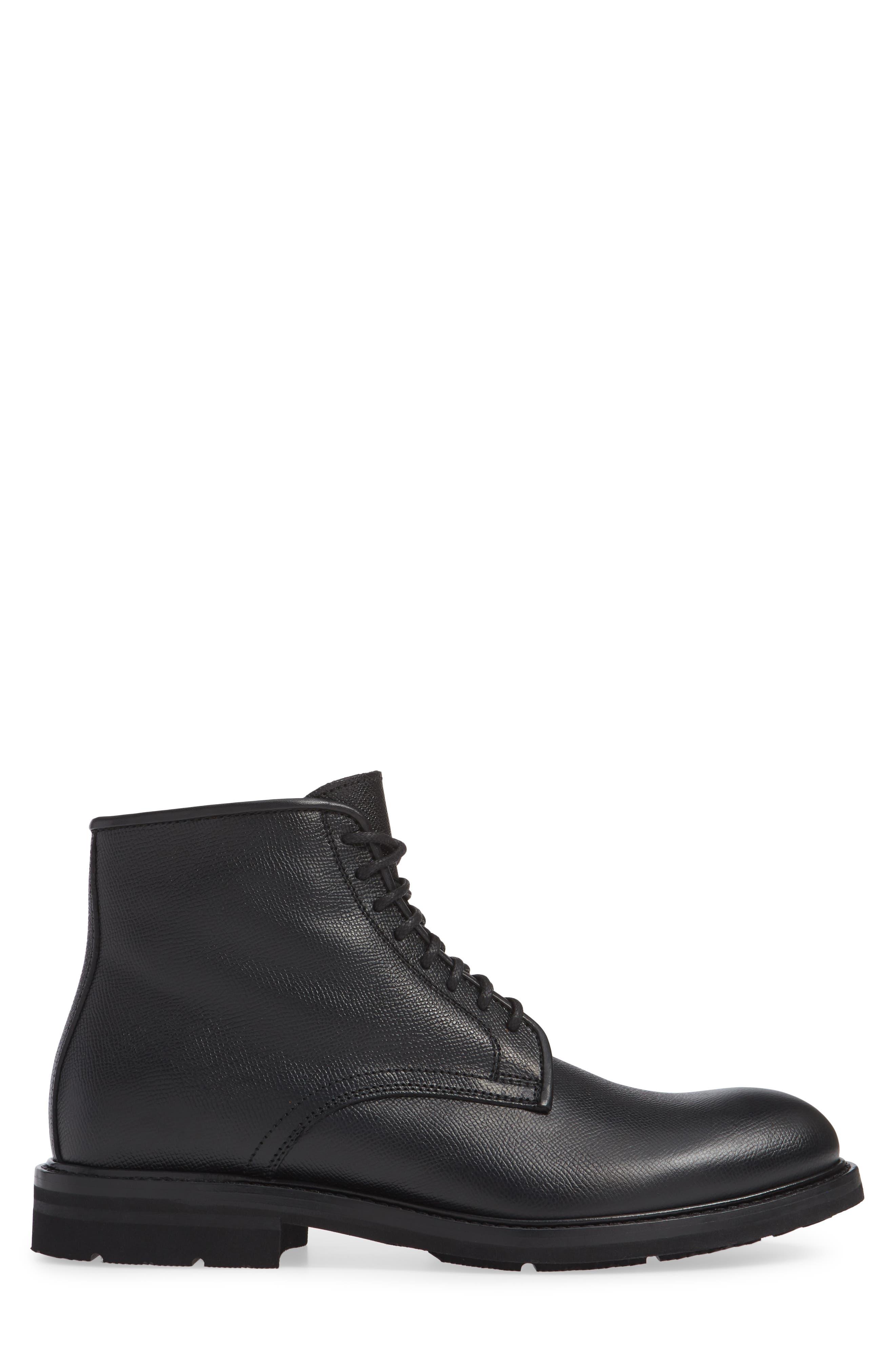 Renzo Weatherproof Plain Toe Waterproof Boot,                             Alternate thumbnail 3, color,                             BLACK