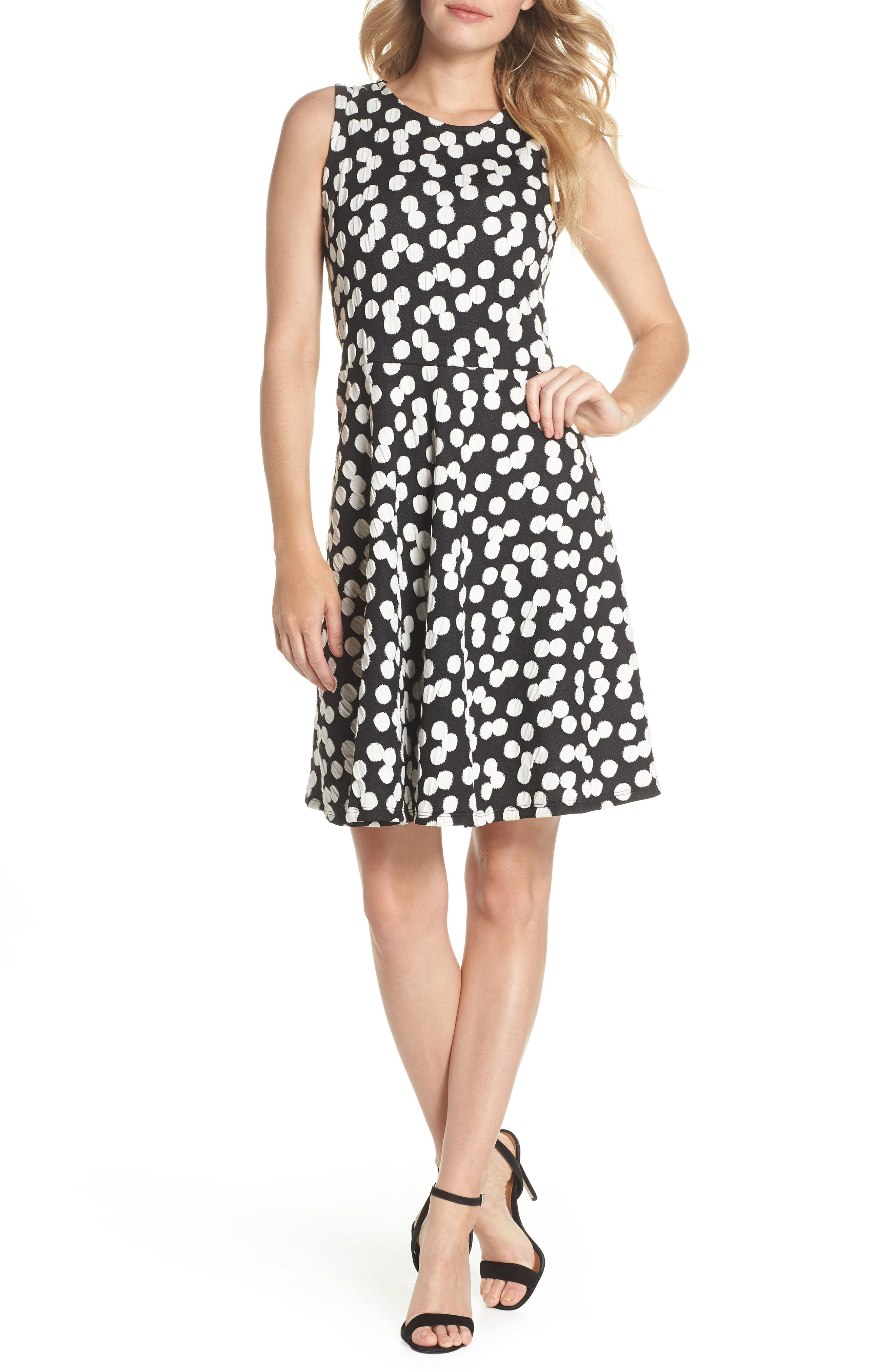 Ava Fit & Flare Dress,                         Main,                         color, 001