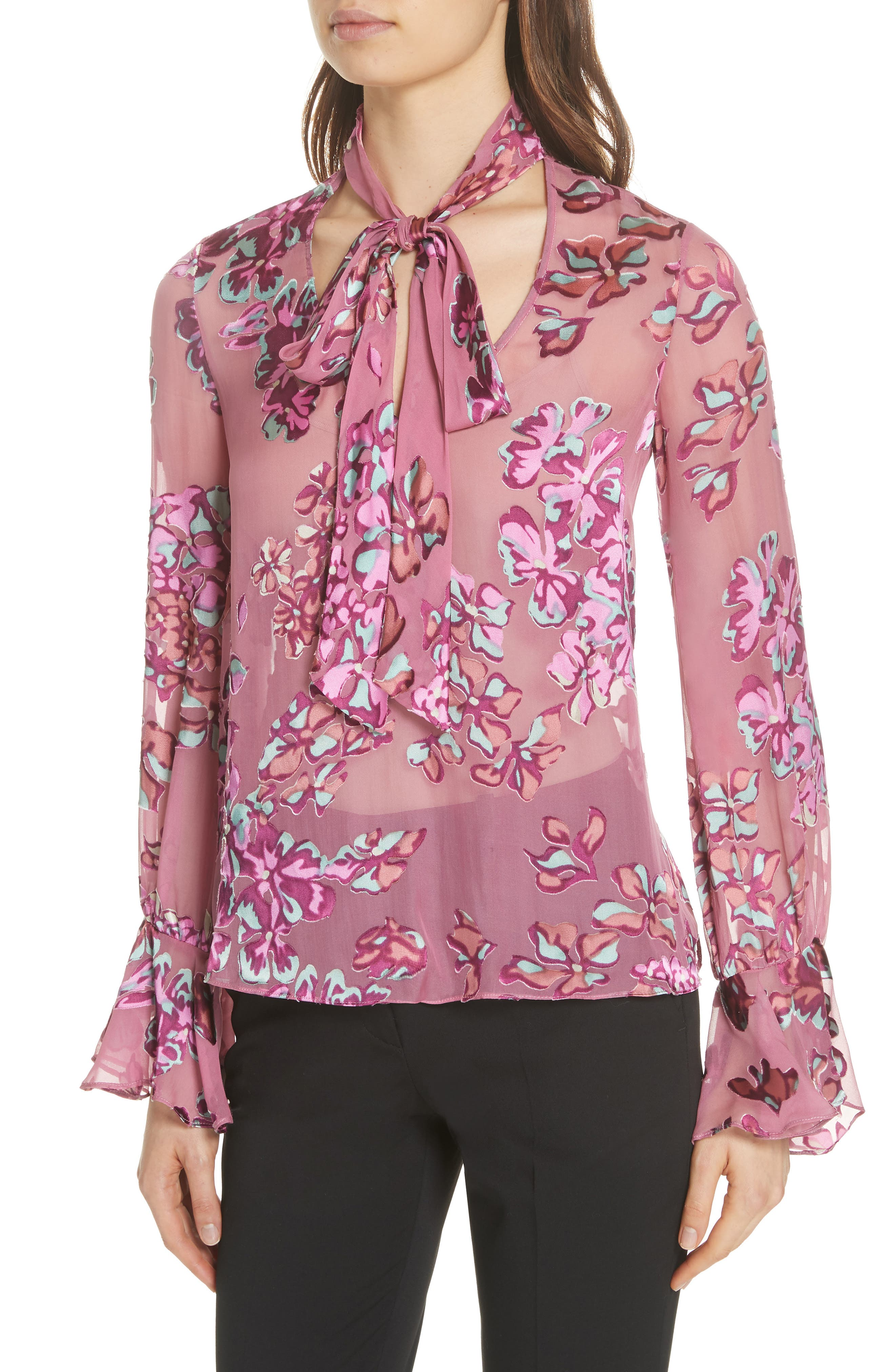Lauren Floral Tie Neck Top,                             Alternate thumbnail 4, color,                             660