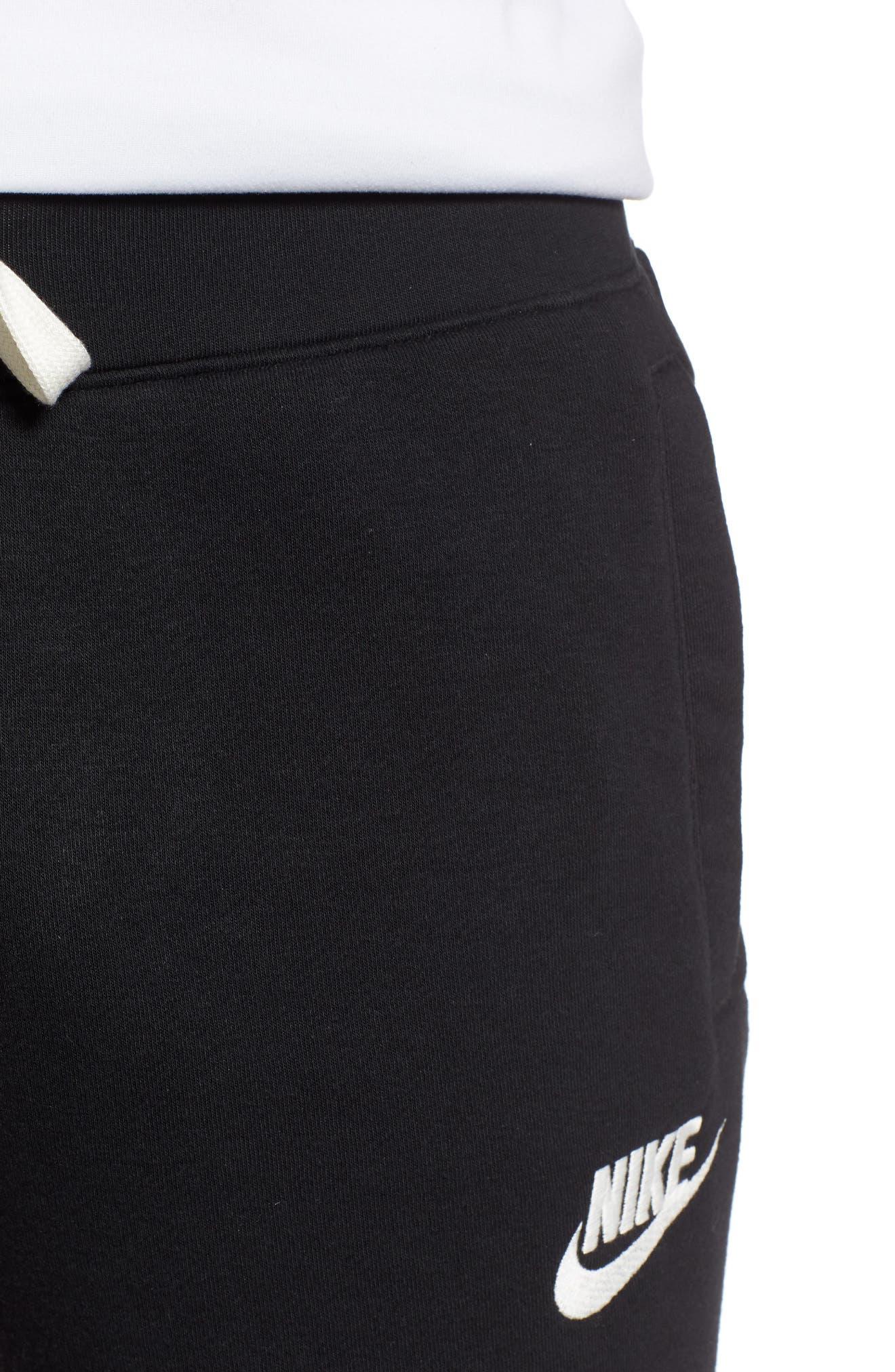 Heritage Knit Shorts,                             Alternate thumbnail 4, color,                             BLACK/ SAIL