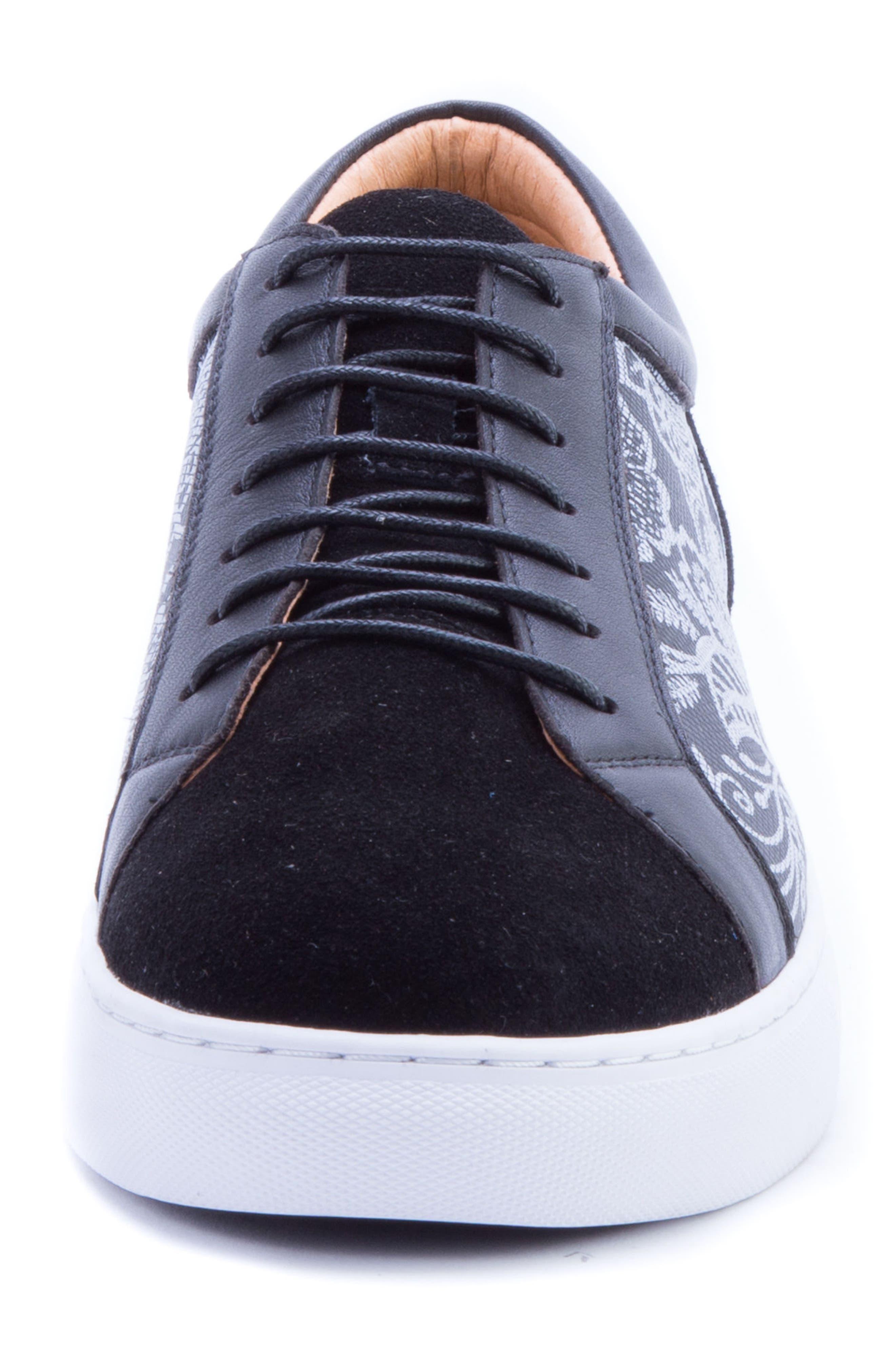 Rubio Floral Sneaker,                             Alternate thumbnail 4, color,                             BLACK SUEDE
