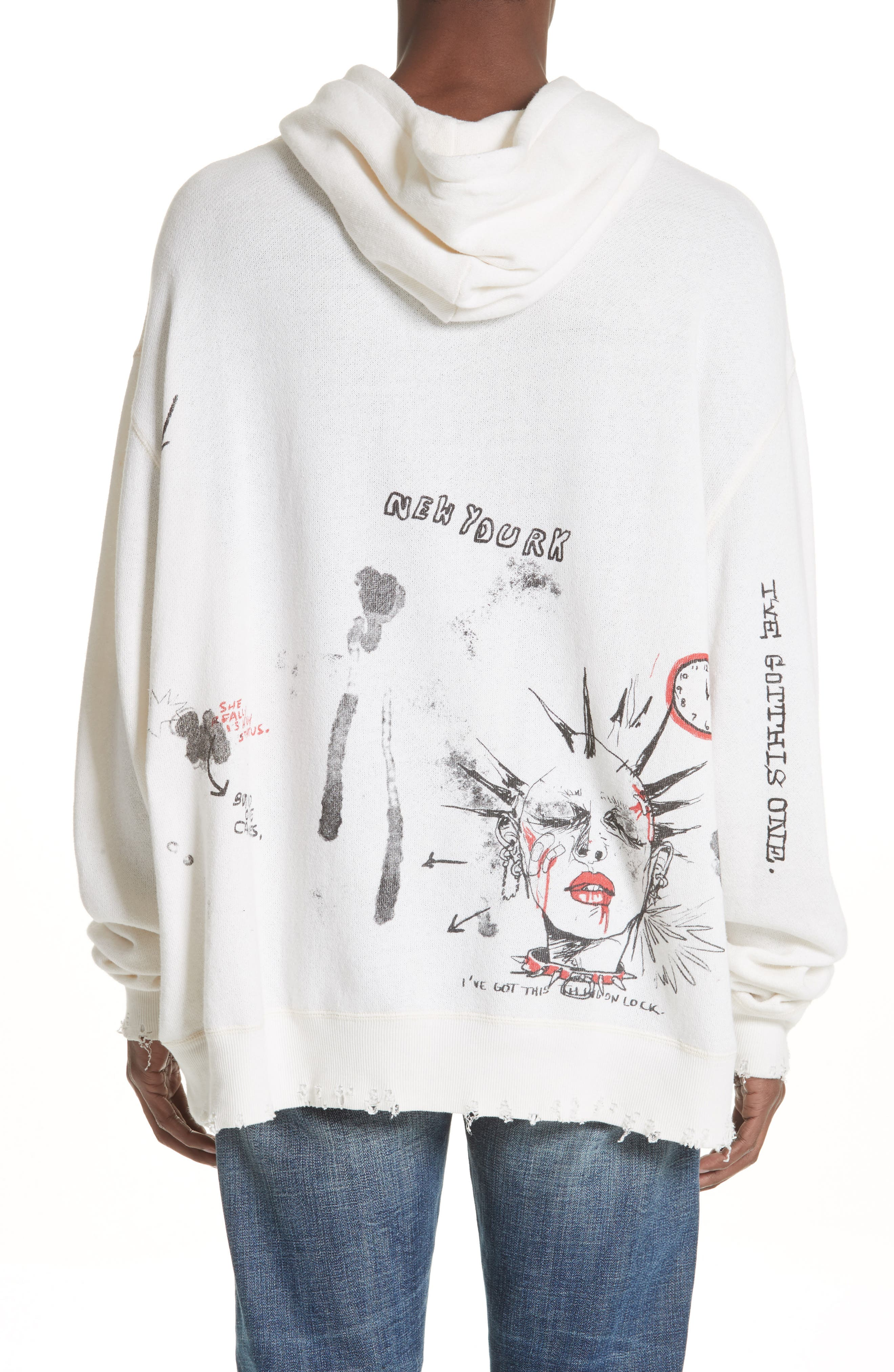 Doodle Hoodie,                             Alternate thumbnail 2, color,                             WHITE
