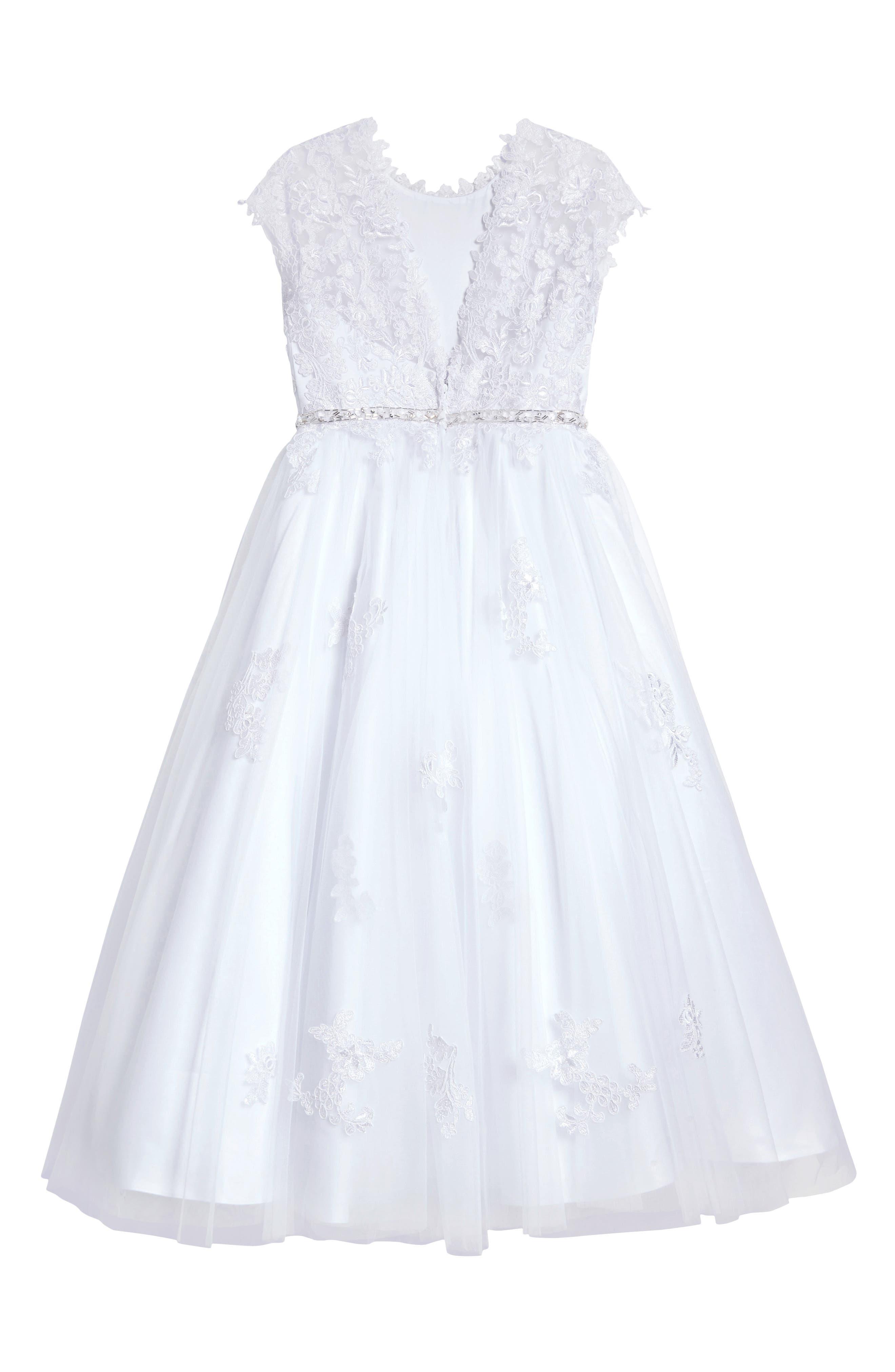 Lace Appliqué Tulle First Communion Dress,                             Alternate thumbnail 2, color,