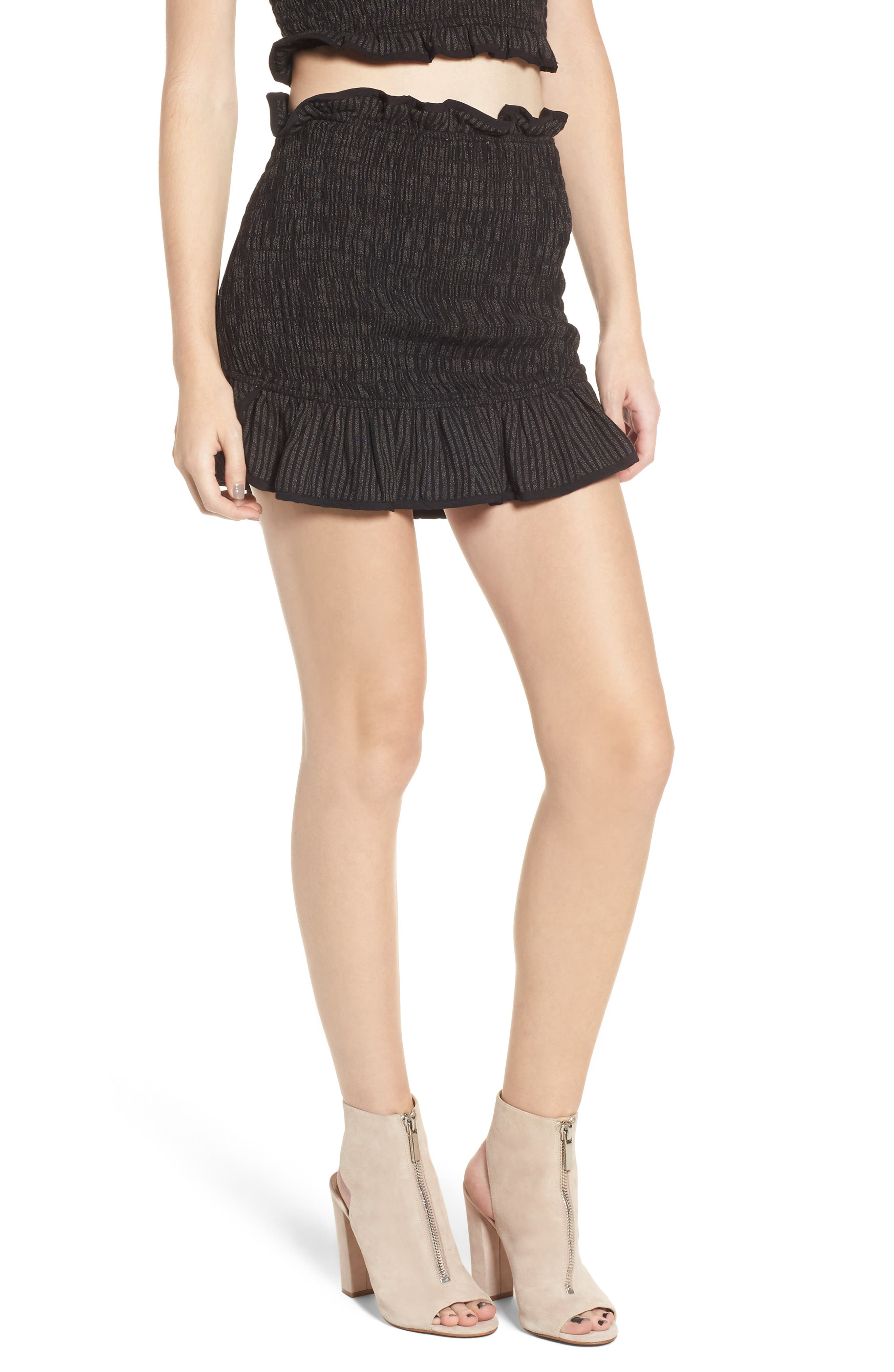 Smocked Miniskirt,                         Main,                         color, 001