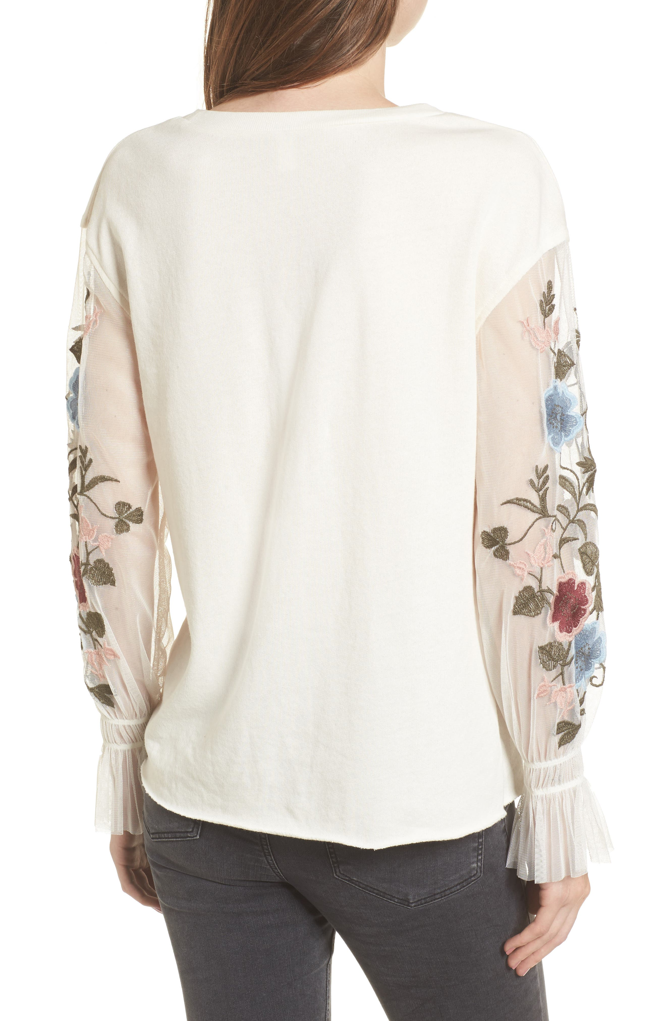 Embroidered Mesh Sleeve Tee,                             Alternate thumbnail 2, color,