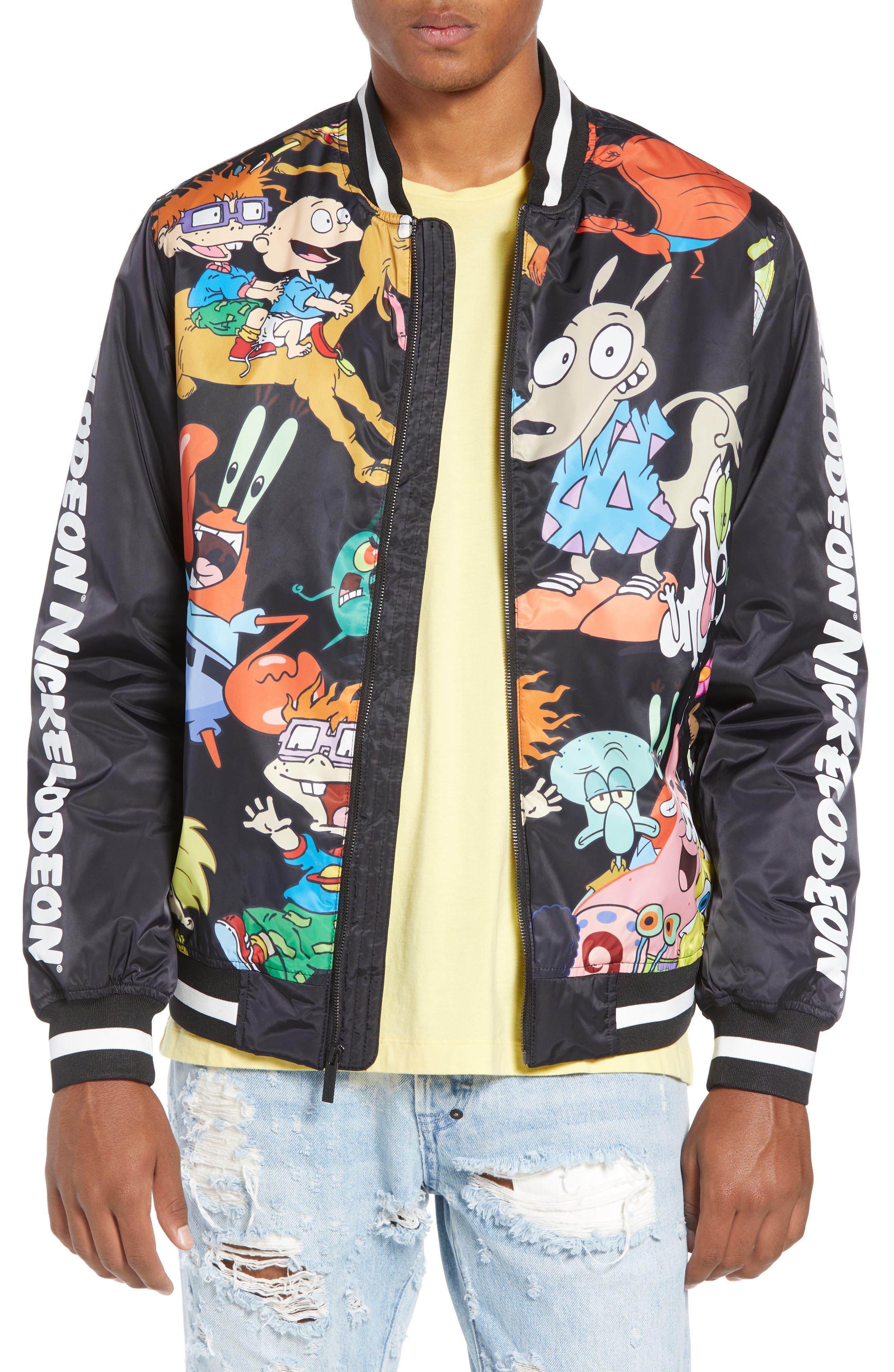Mashup Nickelodeon Bomber Jacket,                             Main thumbnail 1, color,                             BLACK