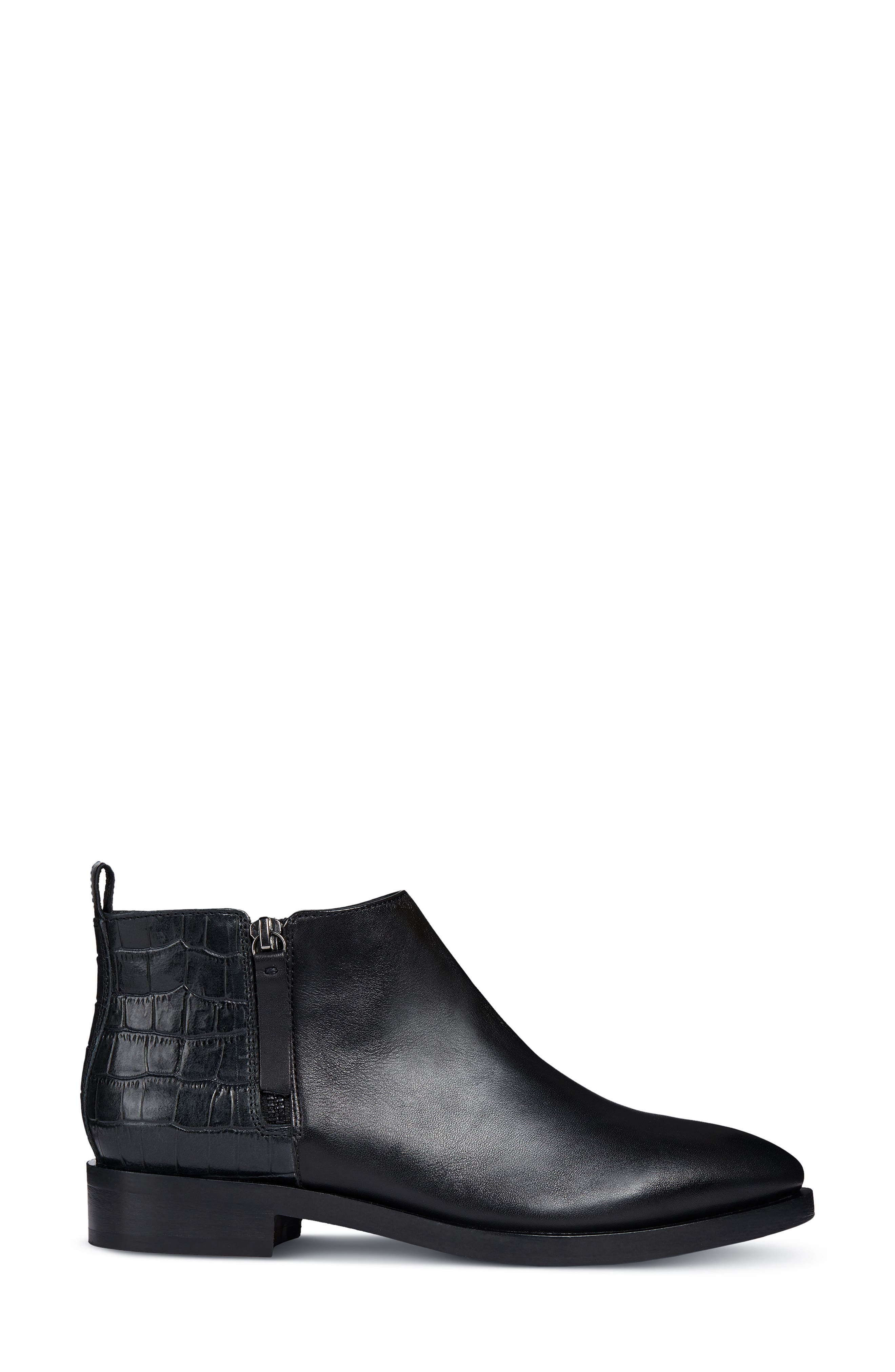 Brogue Bootie,                             Alternate thumbnail 3, color,                             BLACK LEATHER