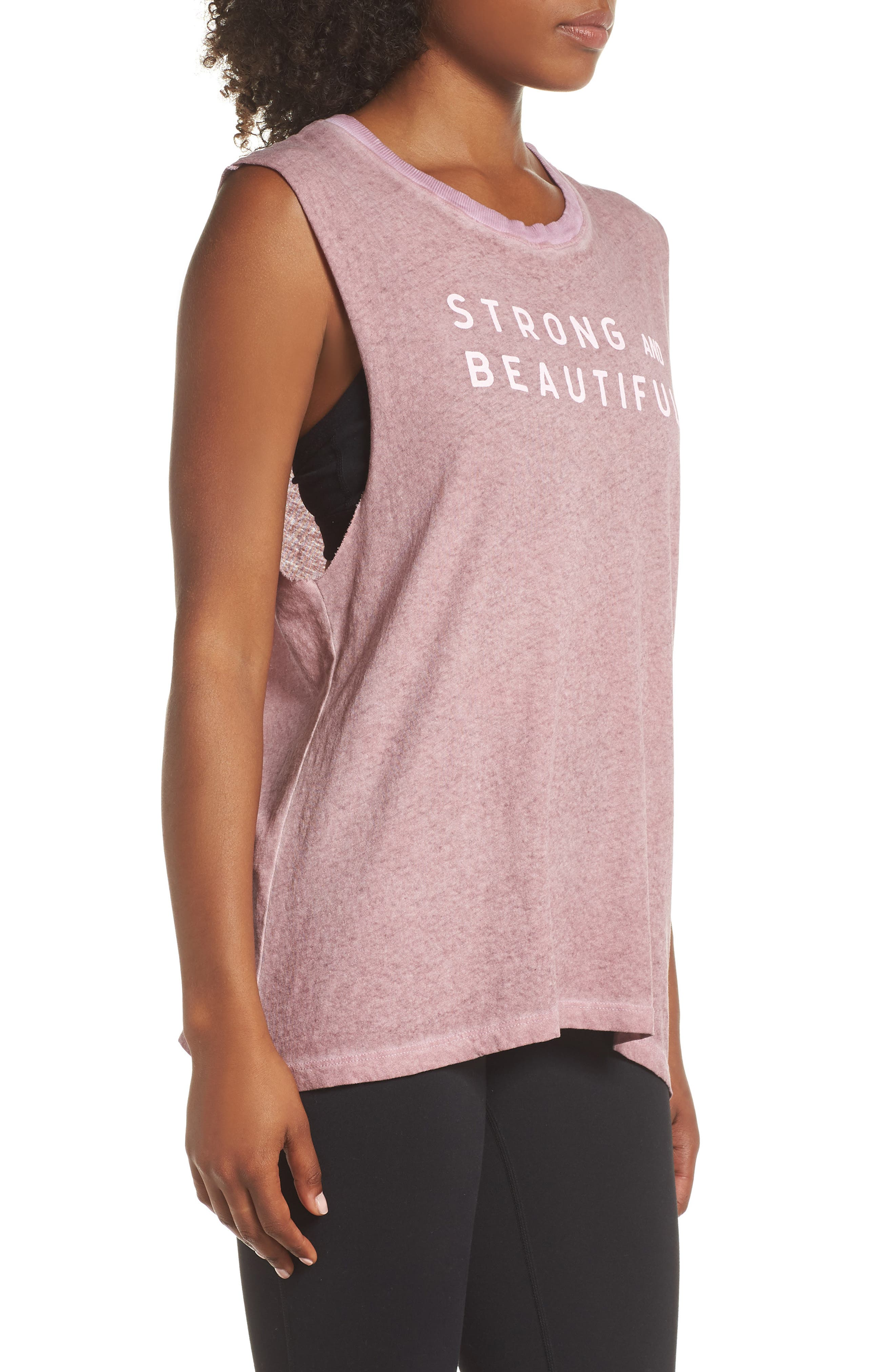 Strong and Beautiful Muscle Tank,                             Alternate thumbnail 3, color,                             ANTIQUE DUSTY ROSE
