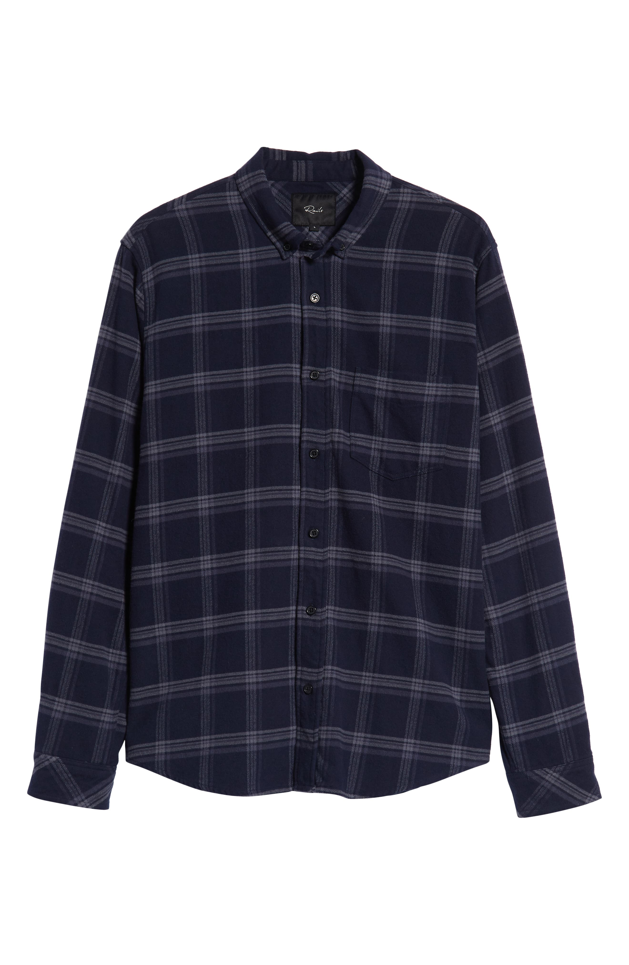 Forrest Slim Fit Plaid Flannel Sport Shirt,                             Alternate thumbnail 5, color,                             NAVY/HEATHERED CHARCOAL