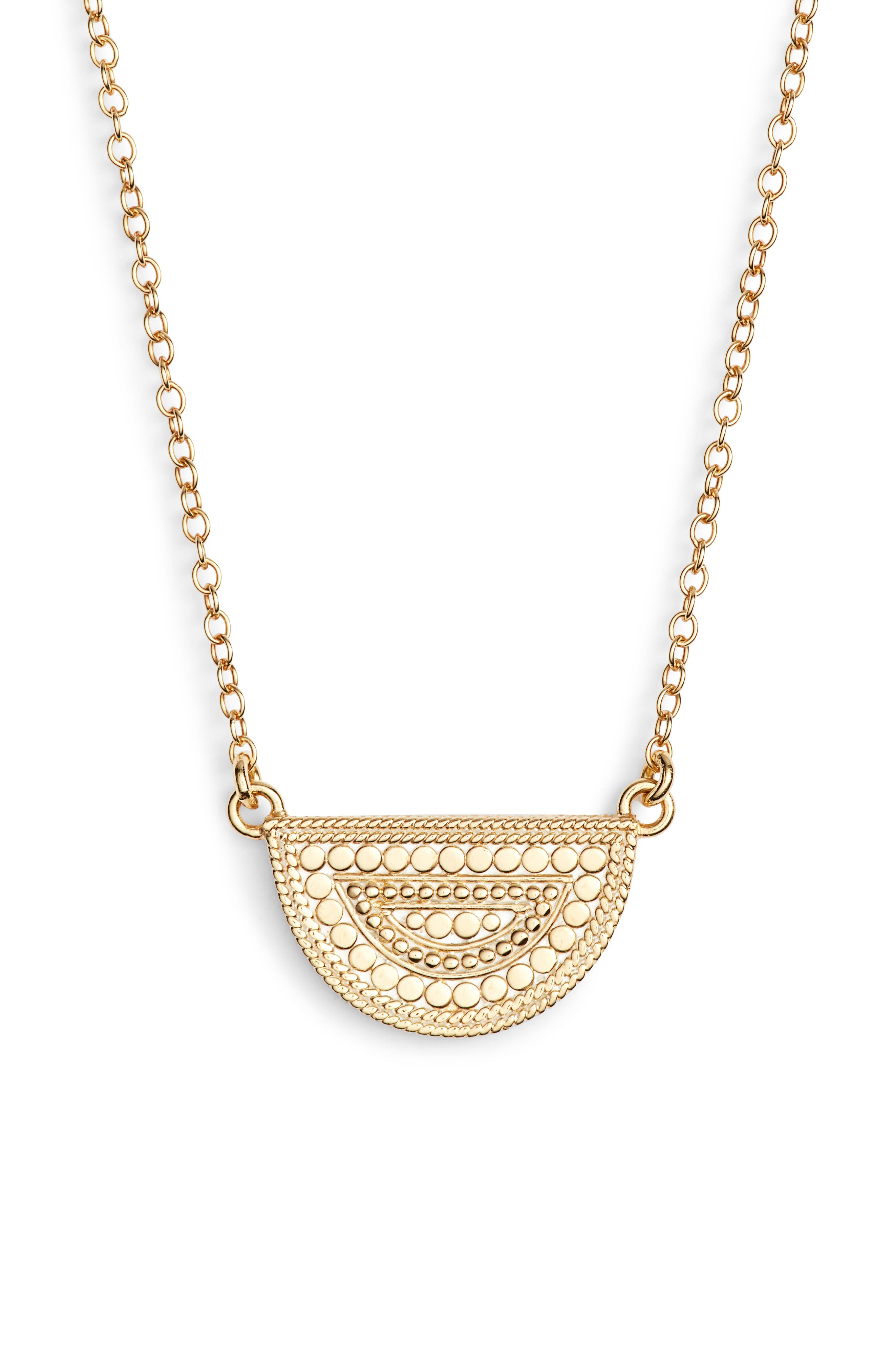 ANNA BECK Beaded Reversible Half-Moon Necklace in Gold