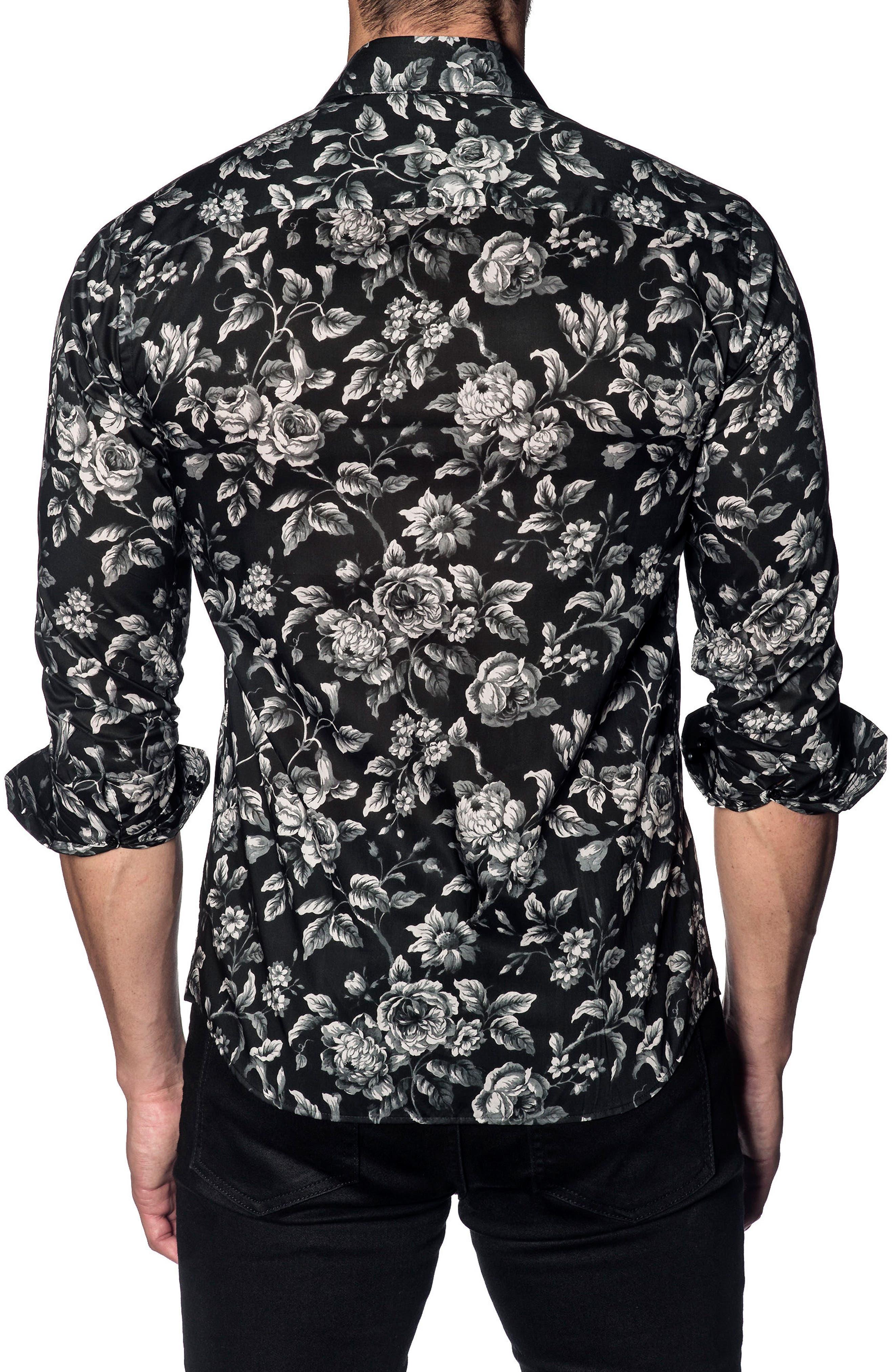 Trim Fit Sport Shirt,                             Alternate thumbnail 2, color,                             BLACK GREY FLORAL PRINT