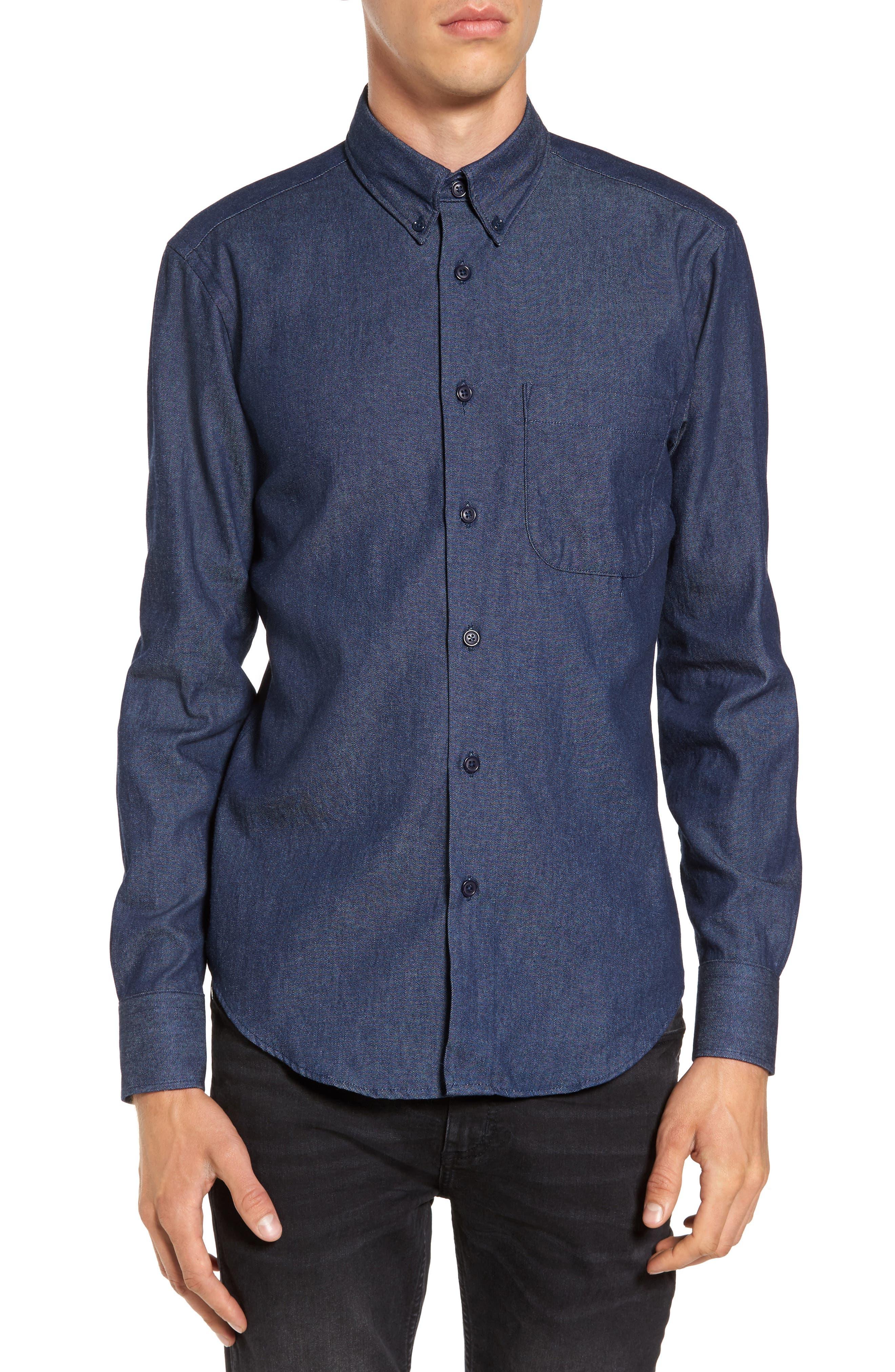 Indigo Long Sleeve Shirt,                             Main thumbnail 1, color,                             401