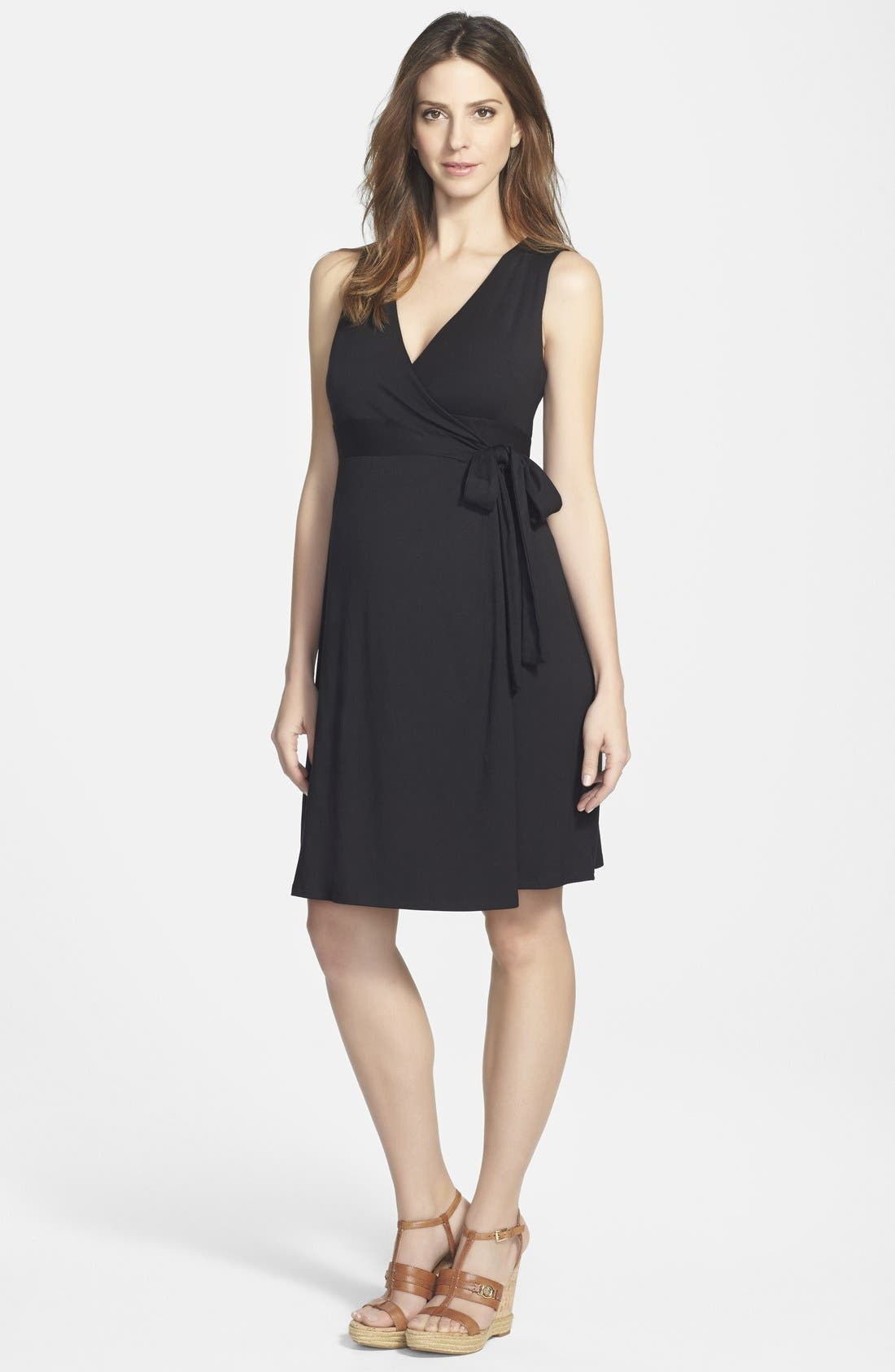 Sleeveless Wrap Maternity Dress,                         Main,                         color, 001