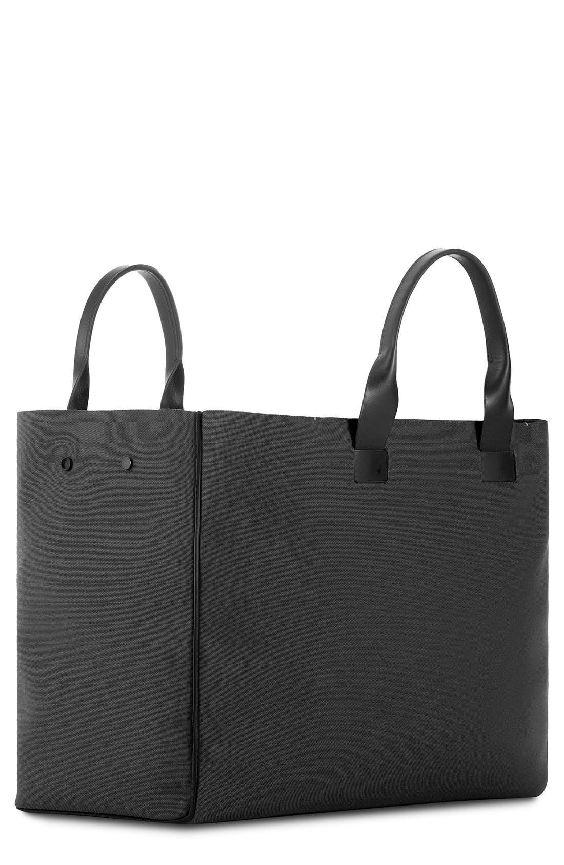 Nylon & Leather Tote Bag,                             Main thumbnail 1, color,                             001