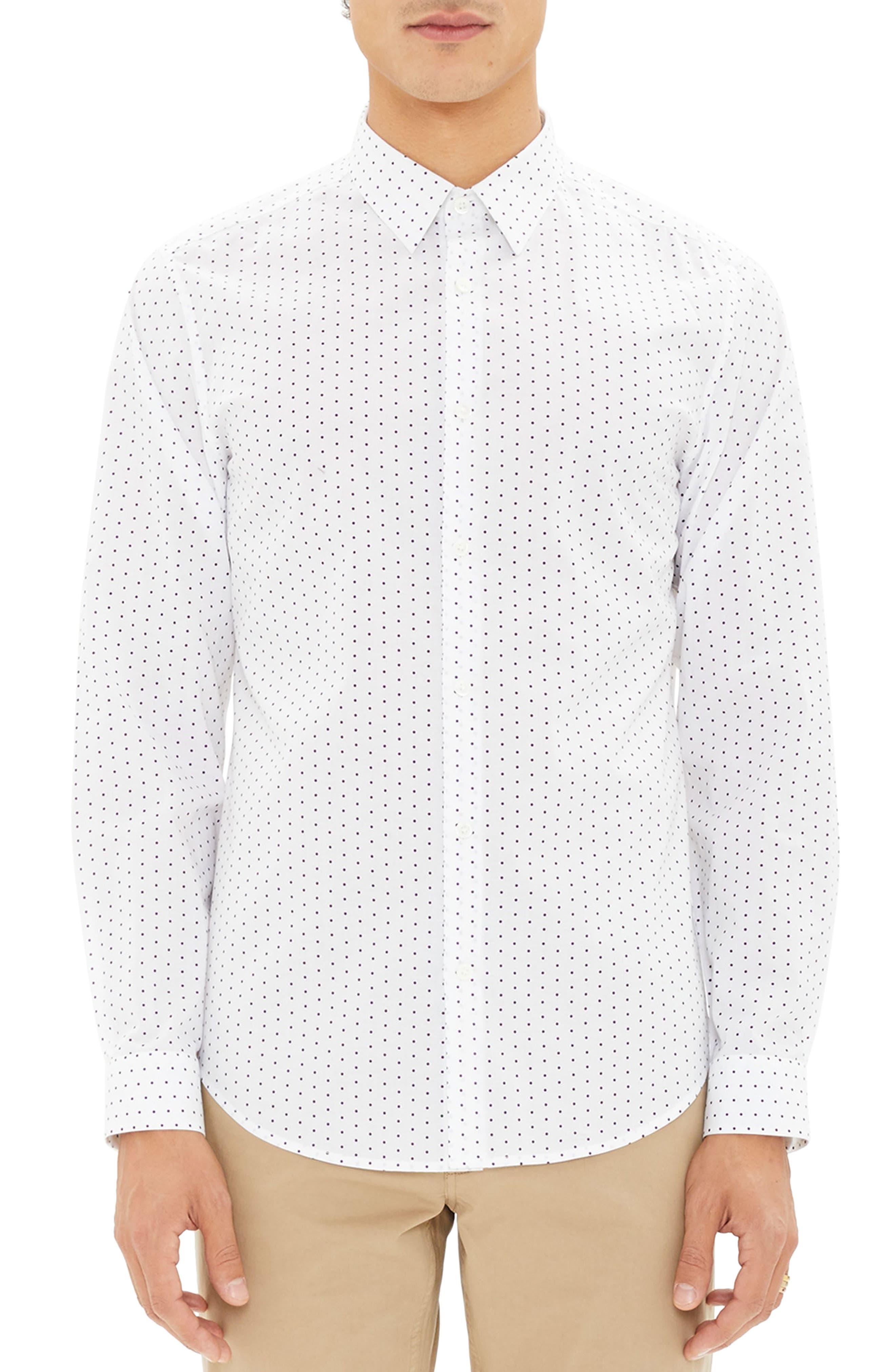 Irving Trim Fit Polka Dot Sport Shirt,                         Main,                         color, 110