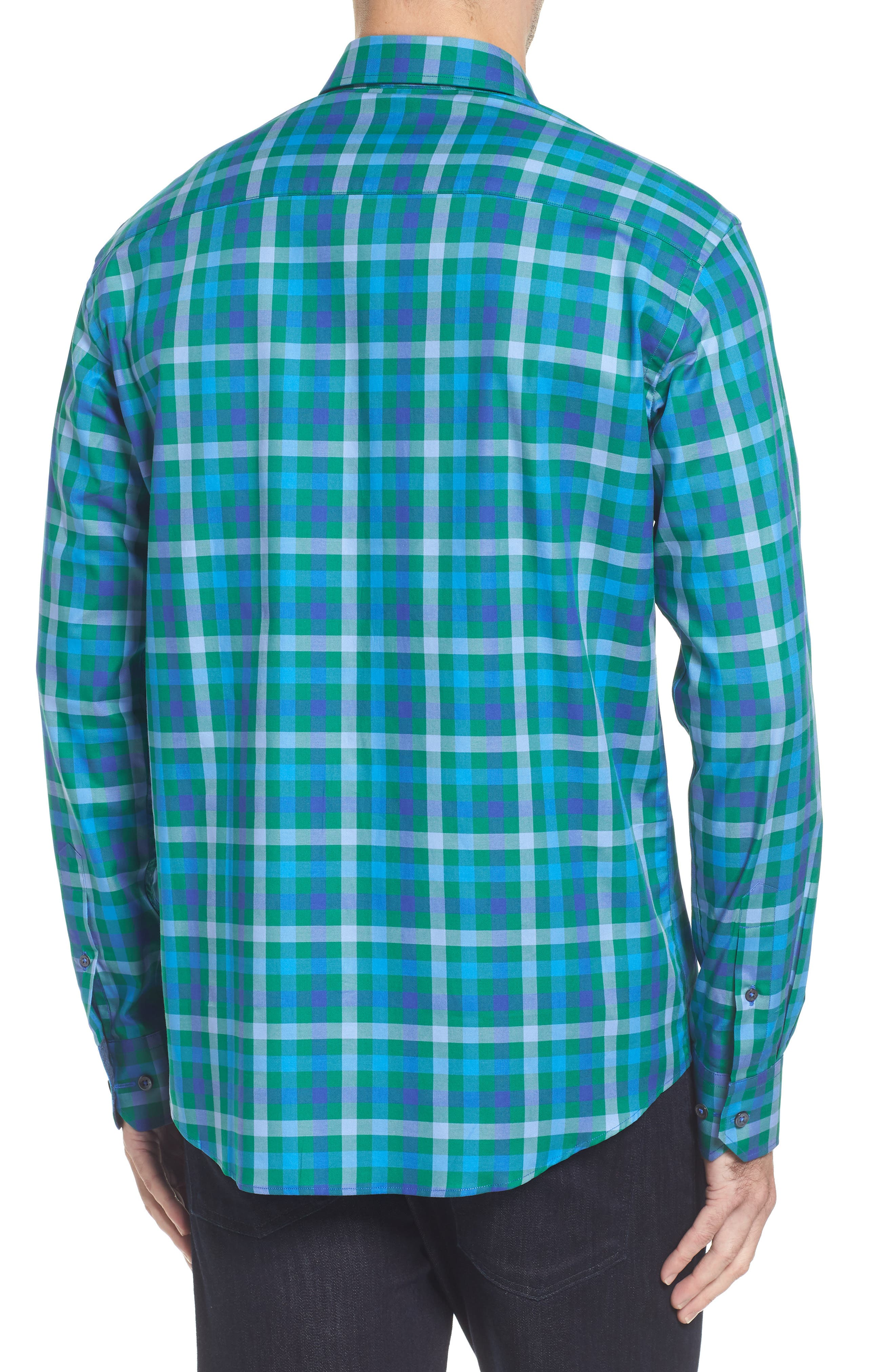 Shaped Fit Plaid Sport Shirt,                             Alternate thumbnail 2, color,                             313