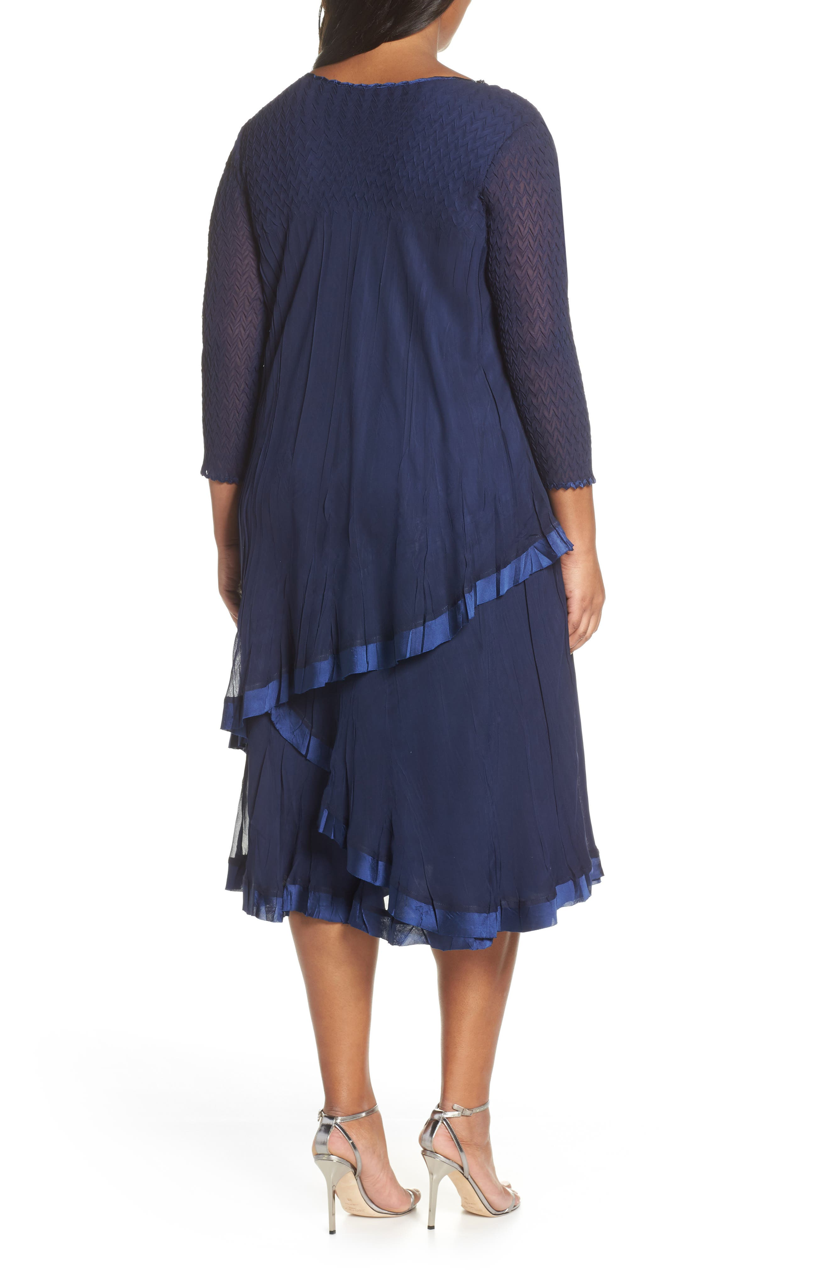 Beaded V-Neck Asymmetrical Tiered Cocktail Dress,                             Alternate thumbnail 2, color,                             MIDNIGHT NAVY