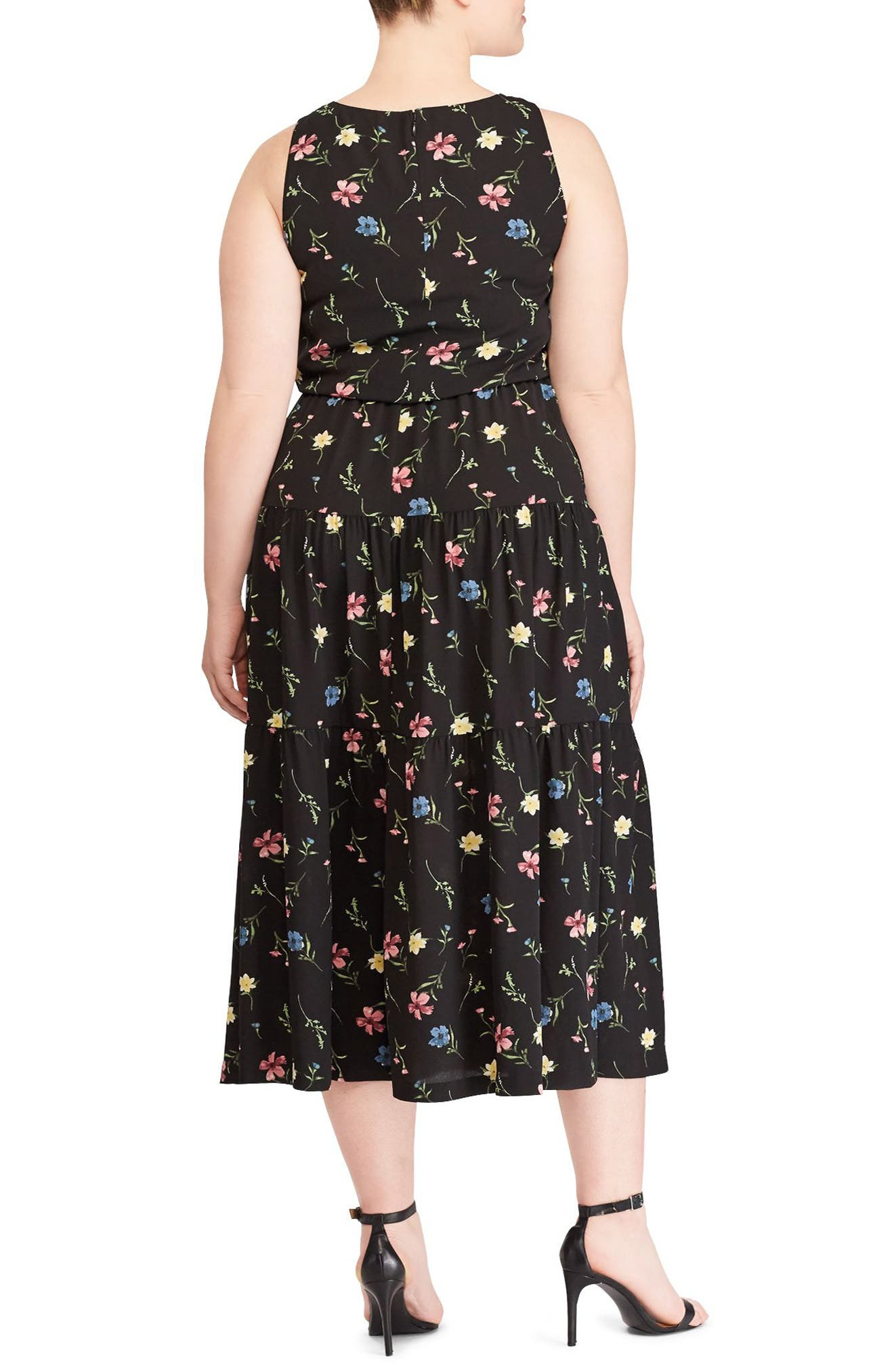 Tiered Floral Midi Dress,                             Alternate thumbnail 2, color,                             BLACK-RED-MULTI