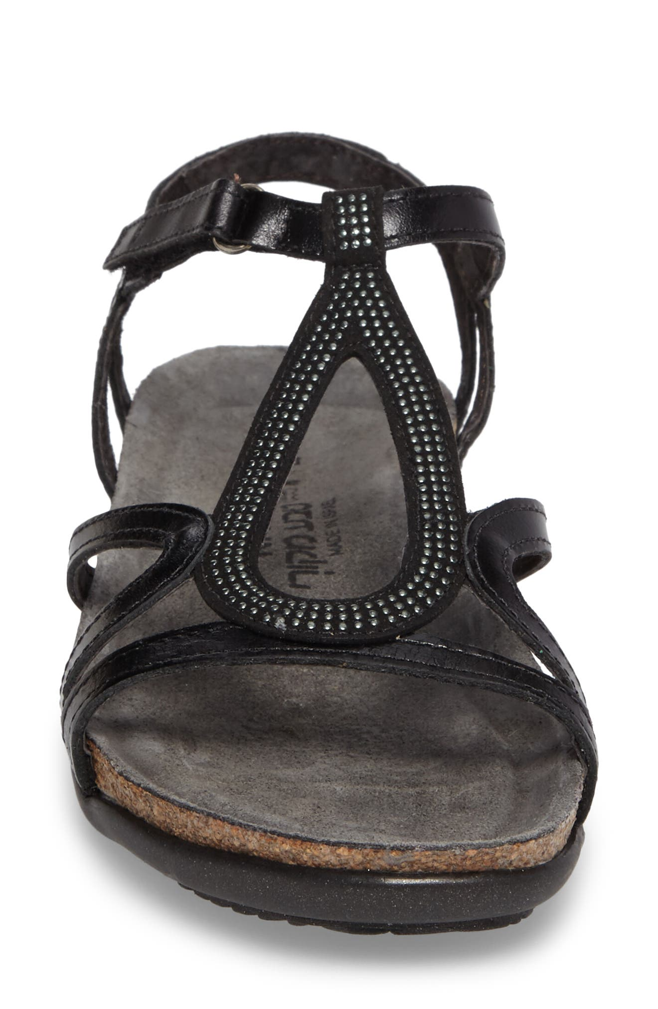Tamara Studded Strappy Sandal,                             Alternate thumbnail 4, color,                             BLACK MADRAS LEATHER