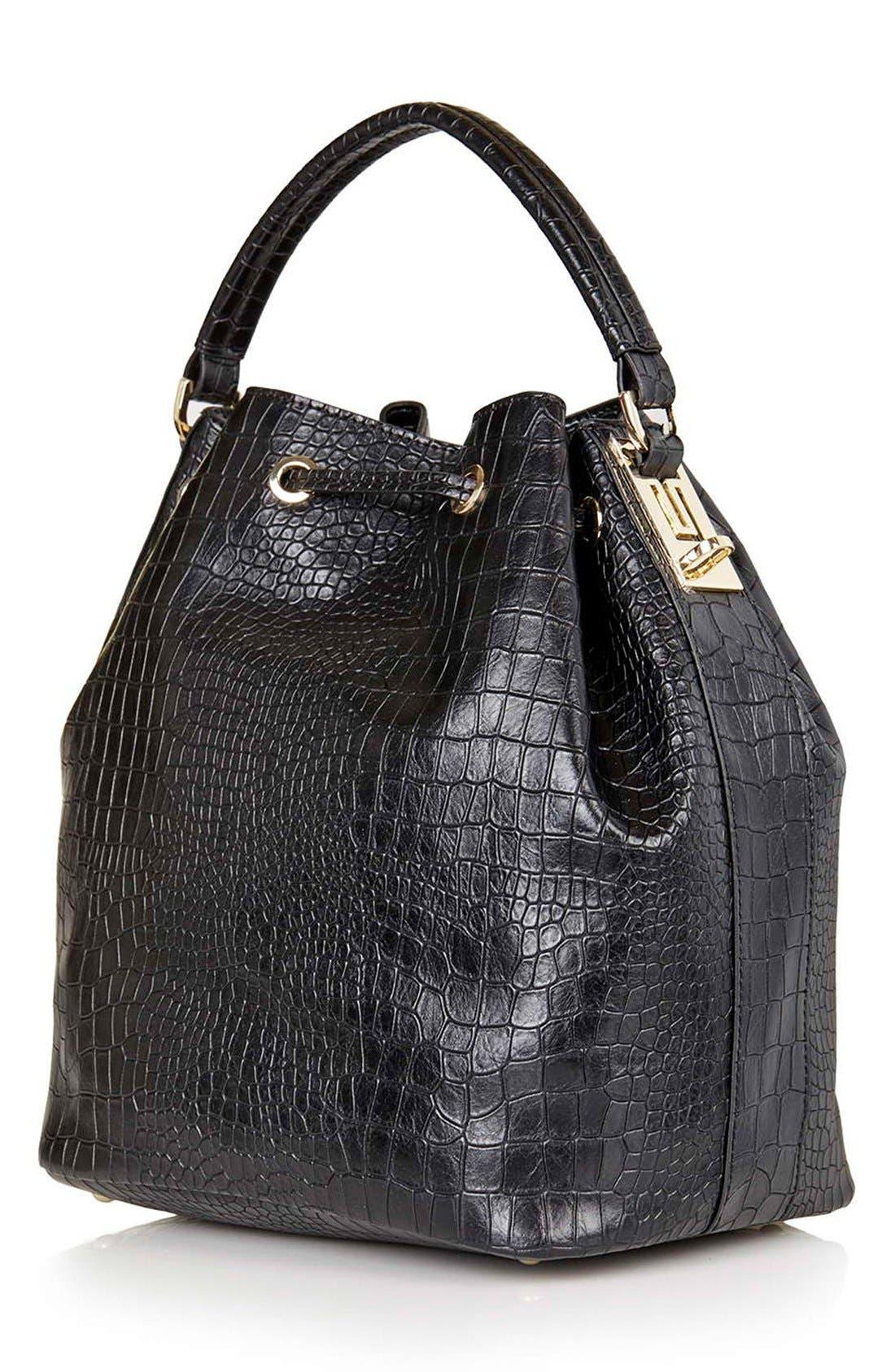 Croc Embossed Bucket Bag,                             Alternate thumbnail 3, color,                             001